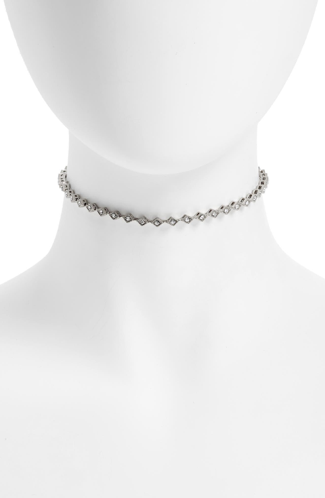 Crystal Cubic Zirconia Choker Necklace,                         Main,                         color, 040