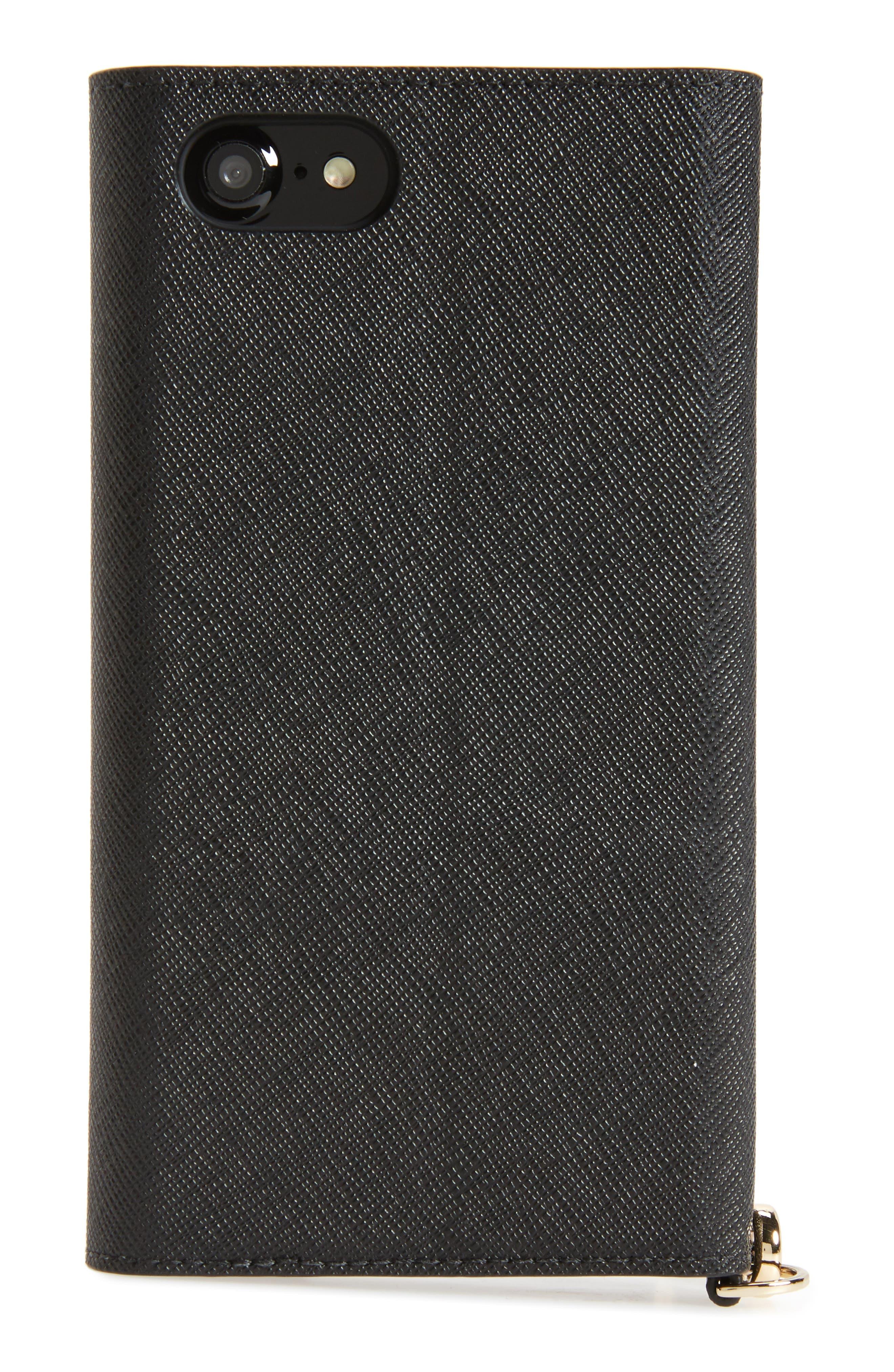 iPhone 7/8 & 7/8 Plus leather wristlet,                             Alternate thumbnail 4, color,                             BLACK