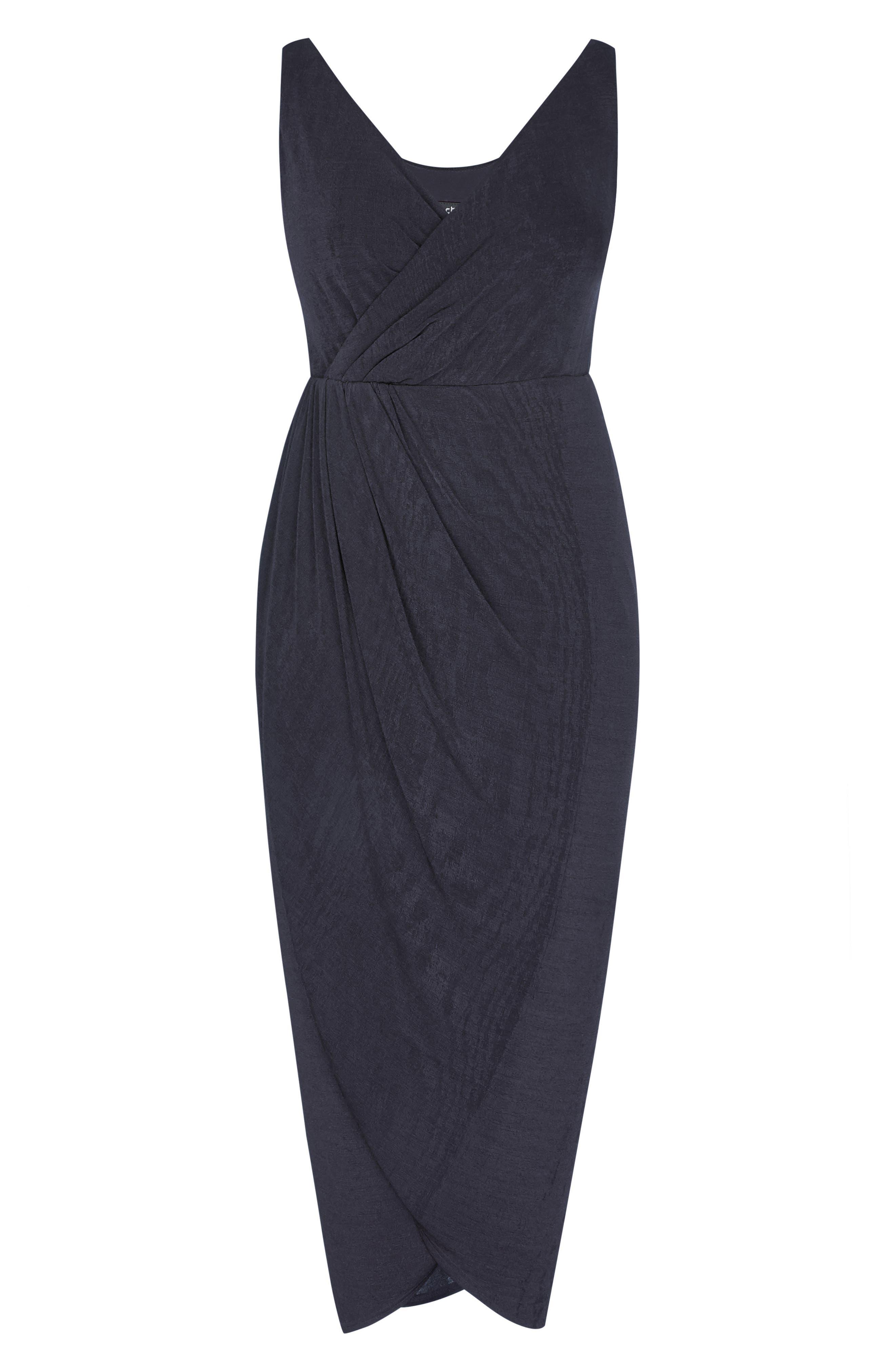 Draped Sleeveless Dress,                             Alternate thumbnail 3, color,                             SMOKE