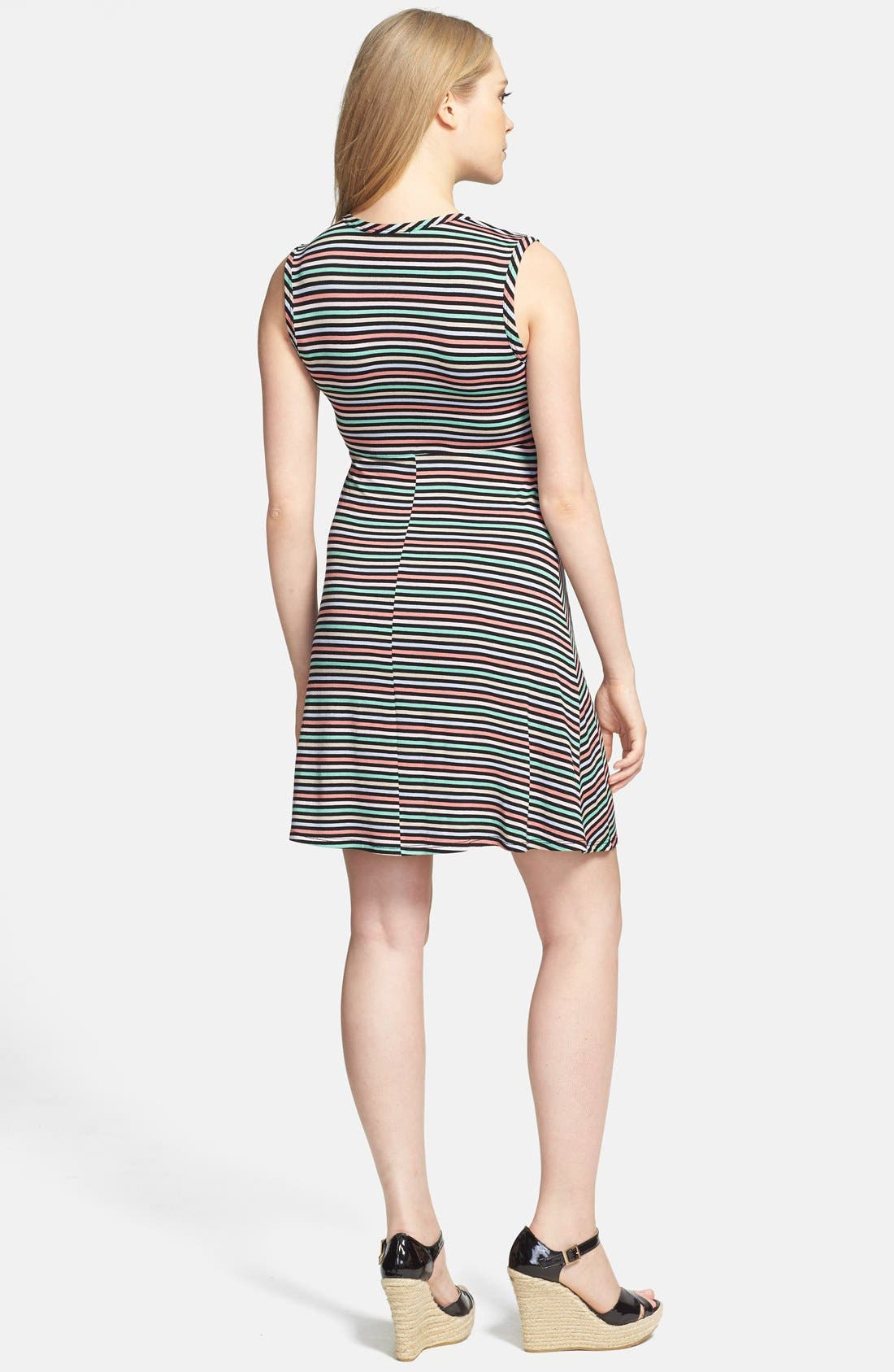 Tie Front Maternity Dress,                             Alternate thumbnail 7, color,                             CANDY STRIPES