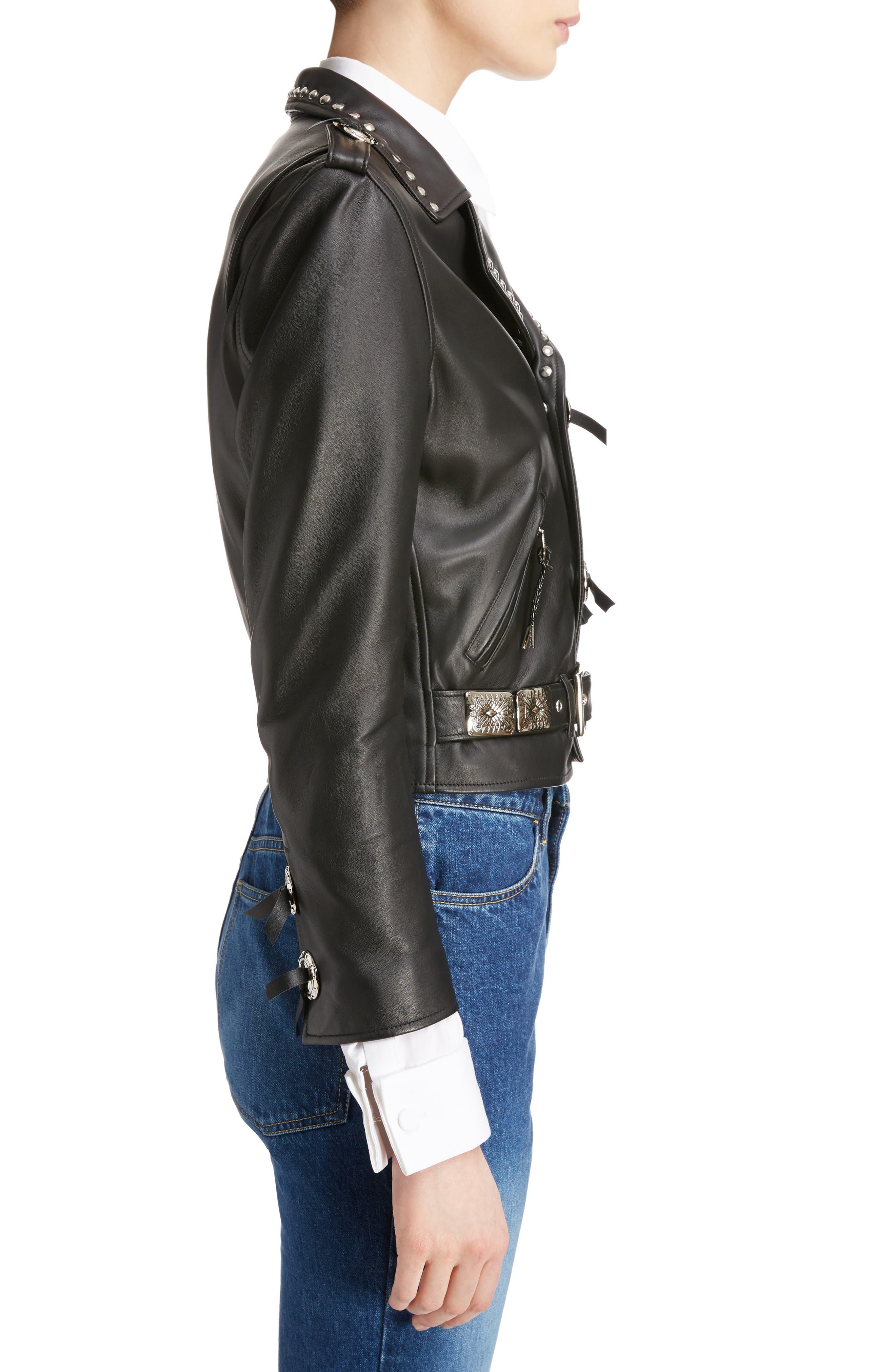 Studded Leather Moto Jacket,                             Alternate thumbnail 3, color,                             001