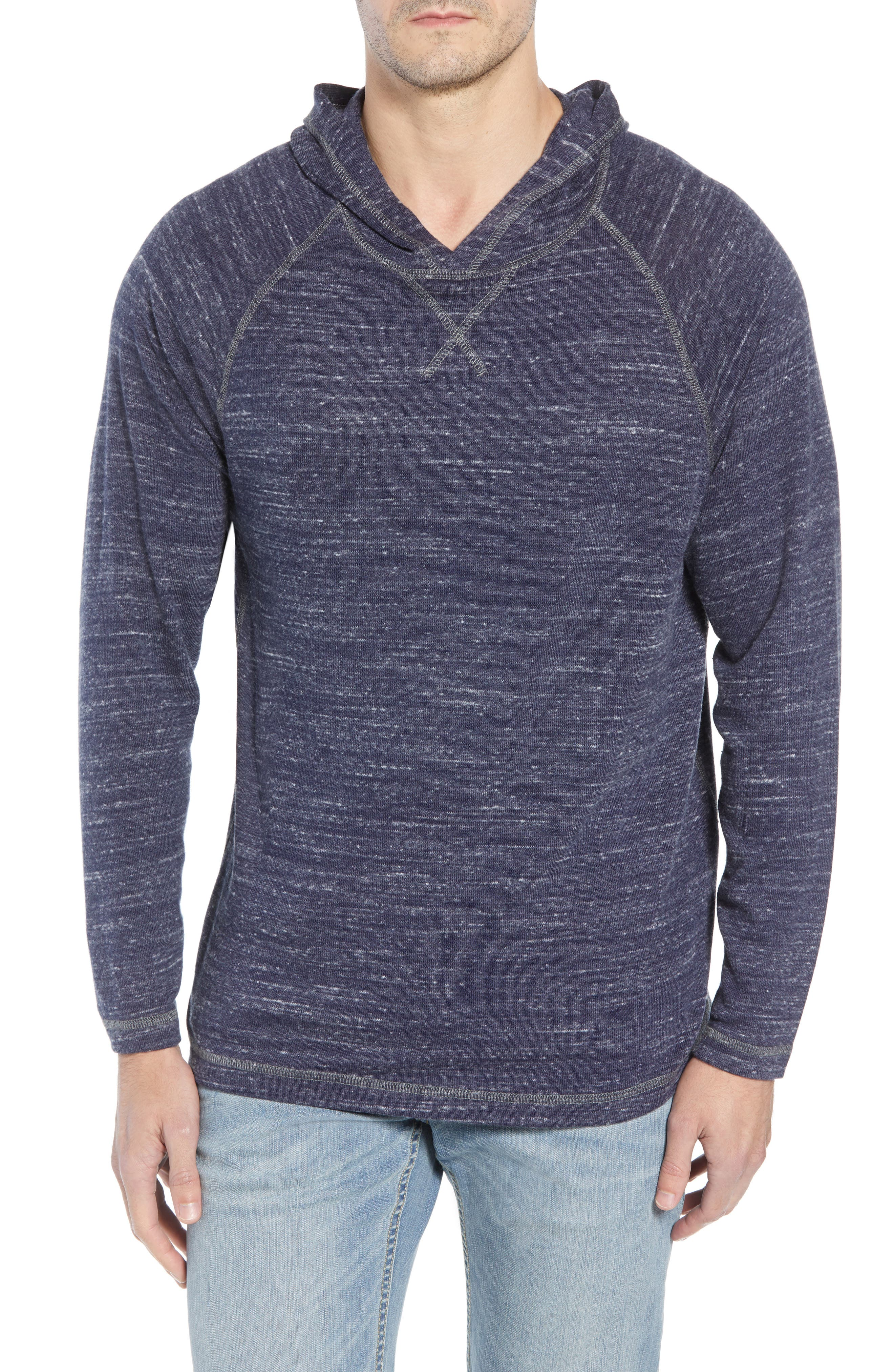Leeward Cove Regular Fit Hoodie,                         Main,                         color, OCEAN DEEP HEATHER