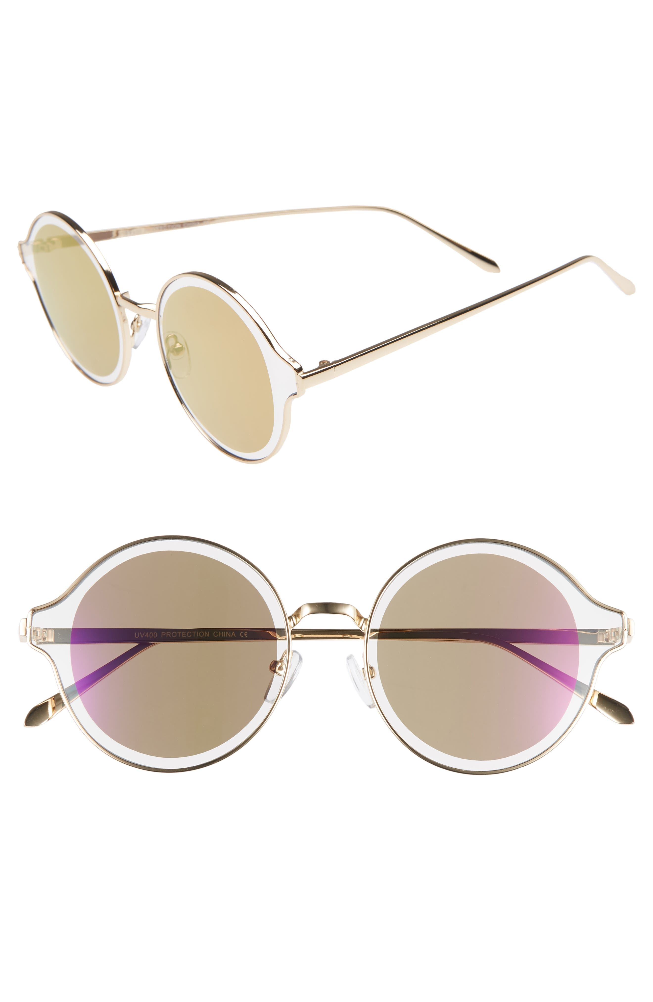 60mm Round Sunglasses,                         Main,                         color, BROWN/ GOLD