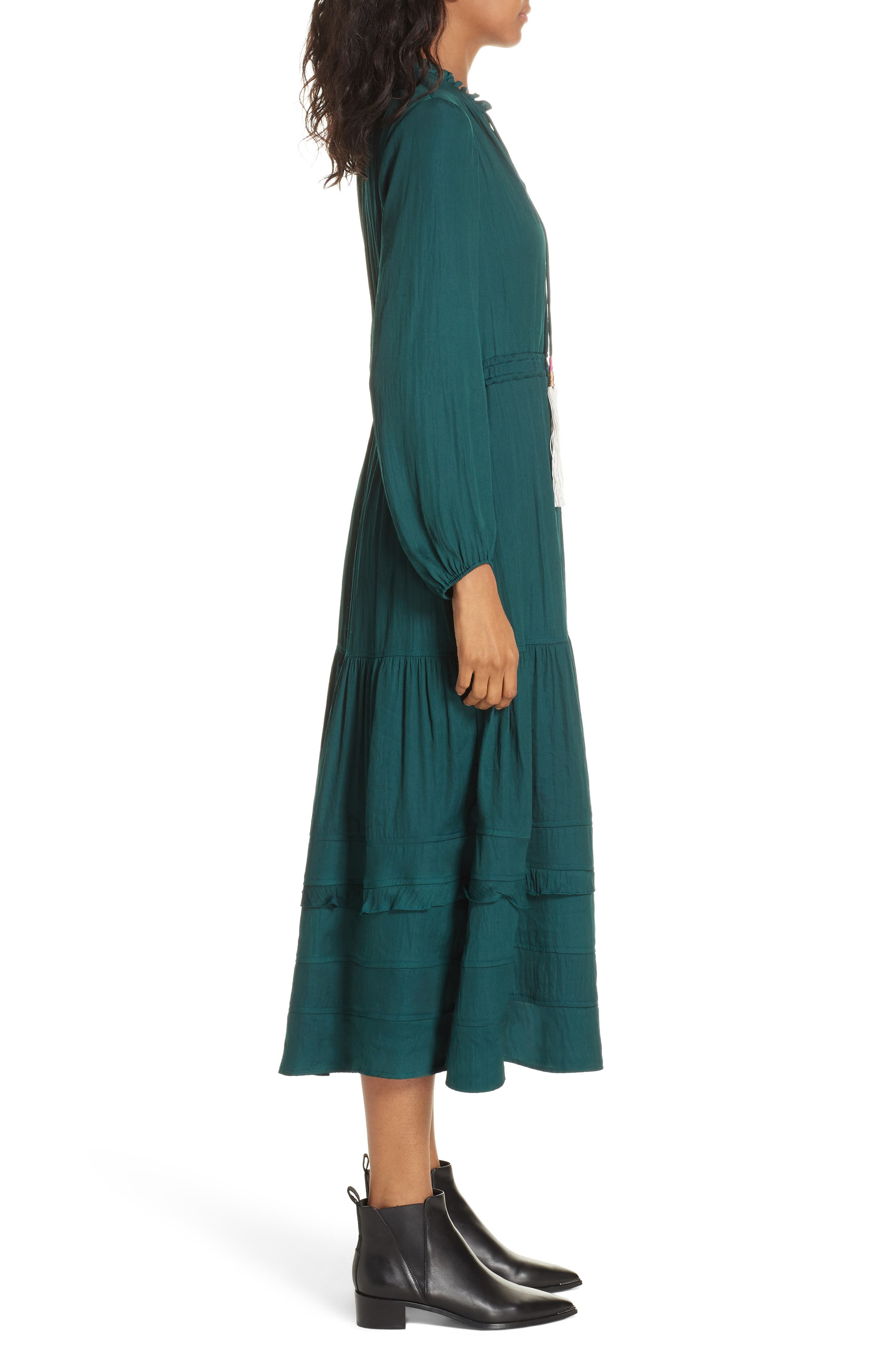 Tassel Tie Midi Dress,                             Alternate thumbnail 3, color,                             FOREST