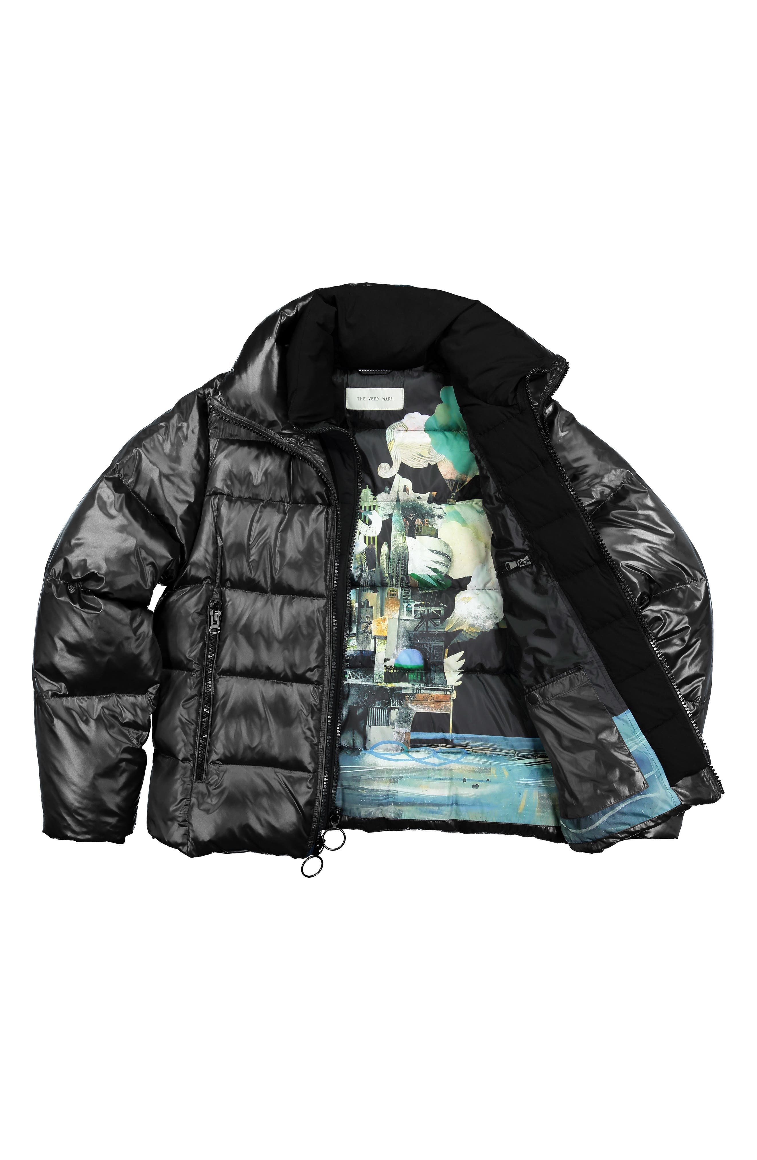 Logan Water Repellent Down & Feather Fill Puffer Jacket,                             Alternate thumbnail 7, color,                             BLACK