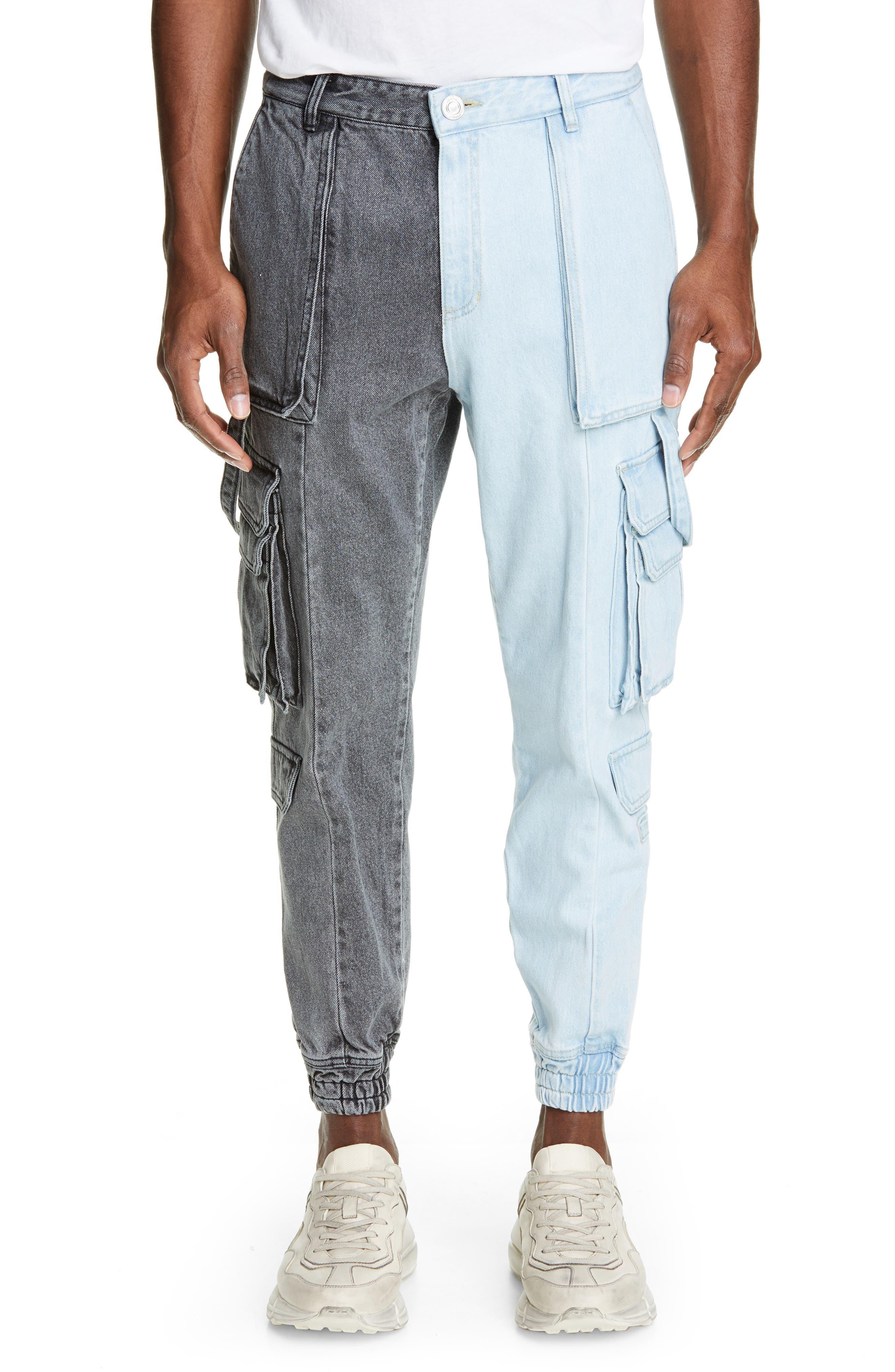 Juun.j Two-Tone Denim Cargo Pilot Pants, Black