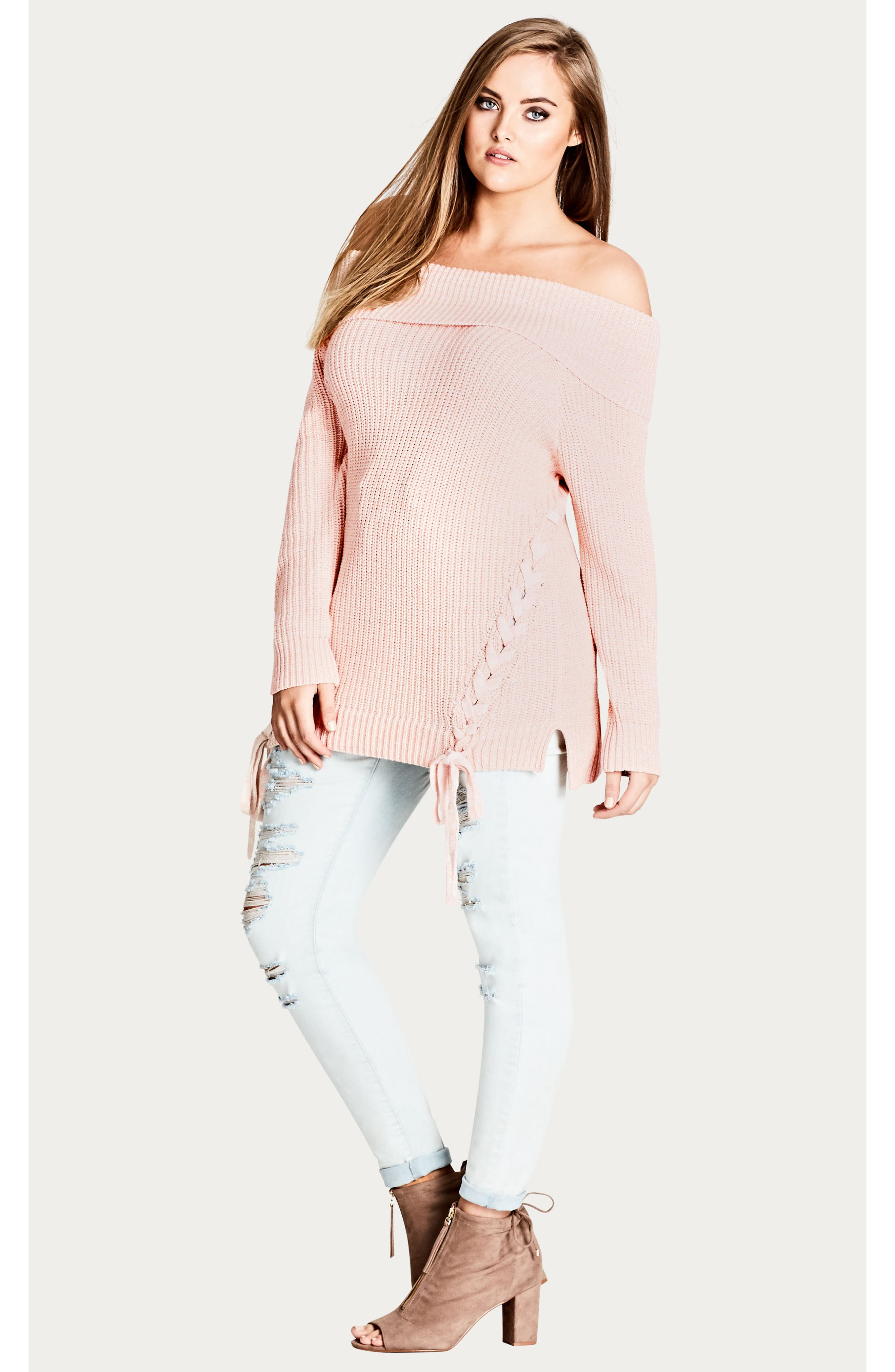 Intertwine Convertible Lace-Up Pullover,                             Alternate thumbnail 9, color,