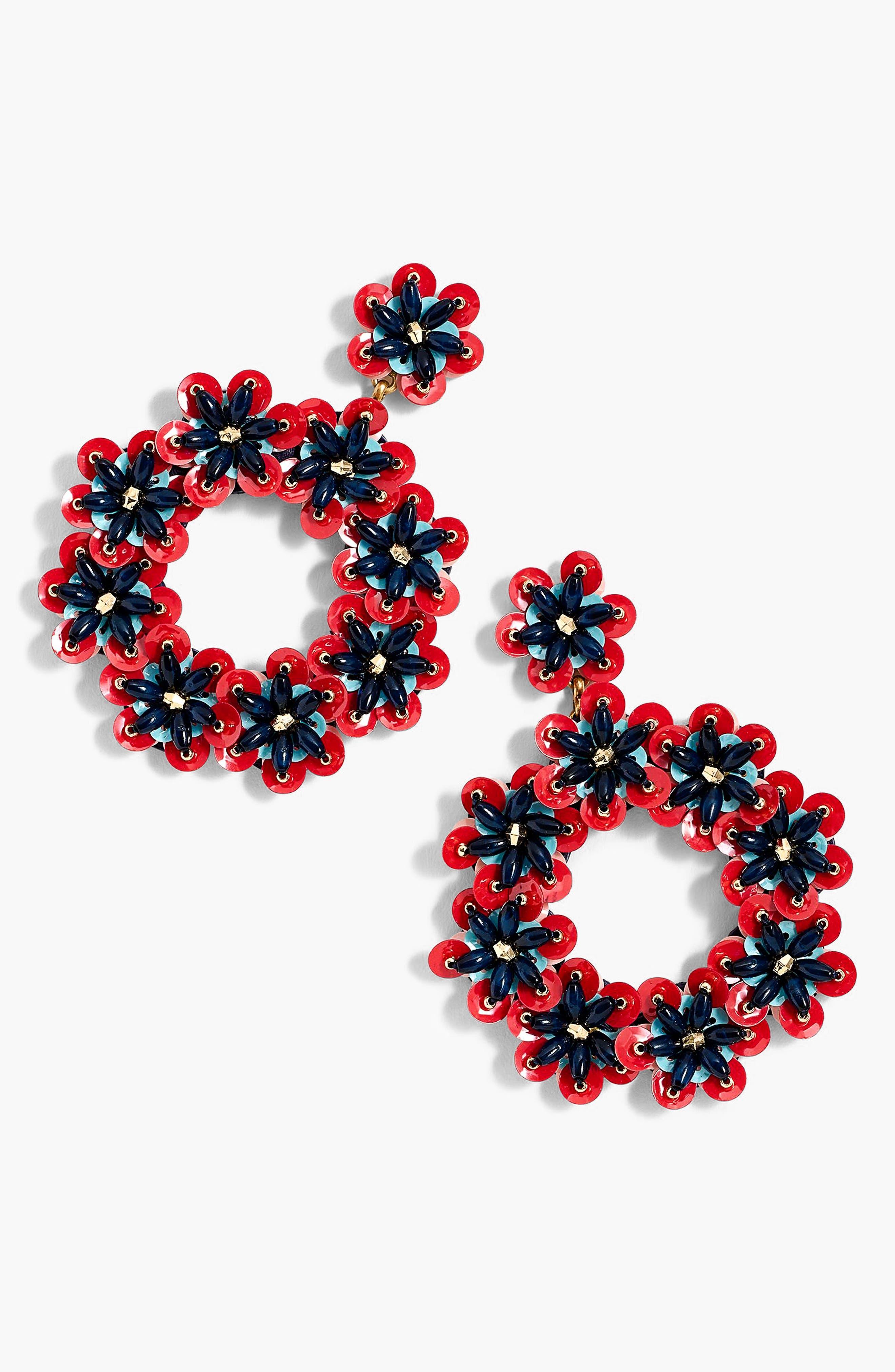 Bead & Sequin Drop Hoop Earrings,                             Main thumbnail 1, color,                             500