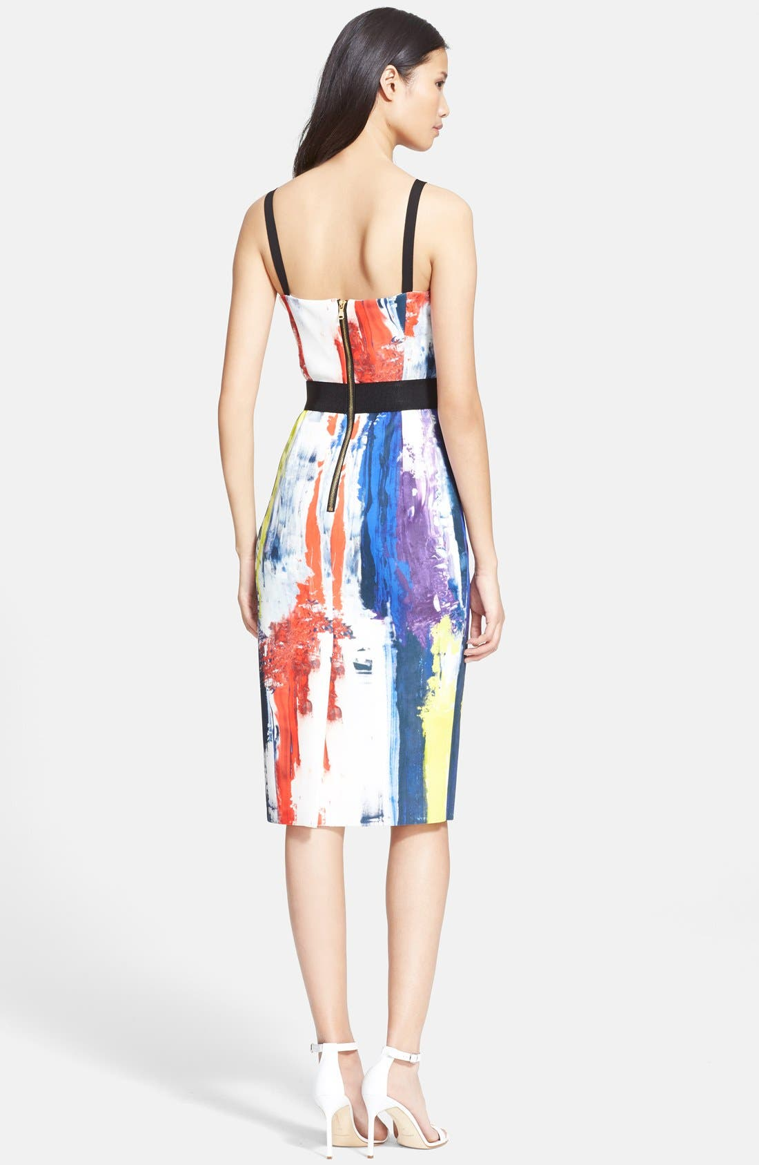 Graffiti Print Bustier Dress,                             Alternate thumbnail 3, color,                             464