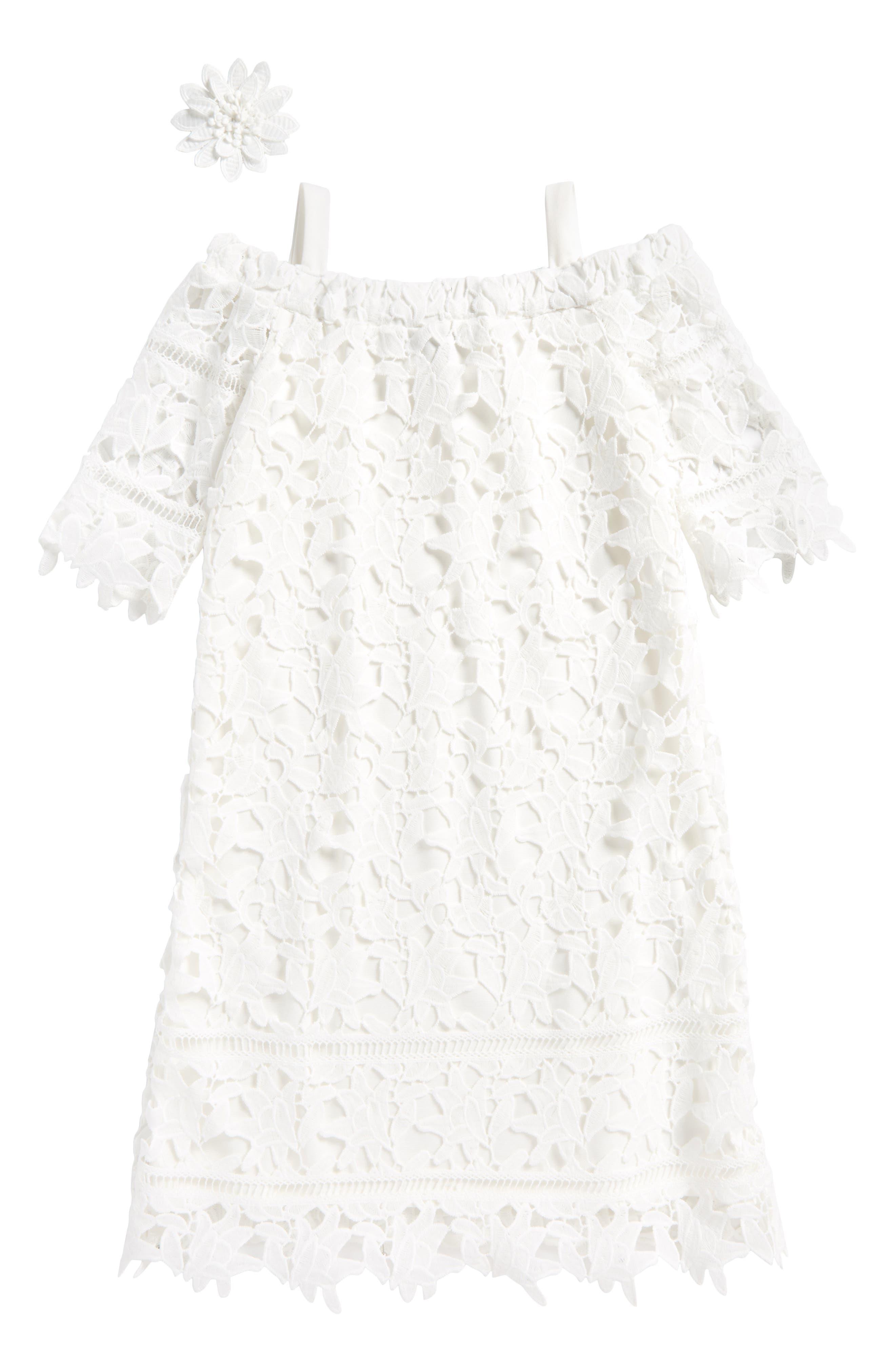 Lace Off the Shoulder Dress,                             Main thumbnail 1, color,                             100
