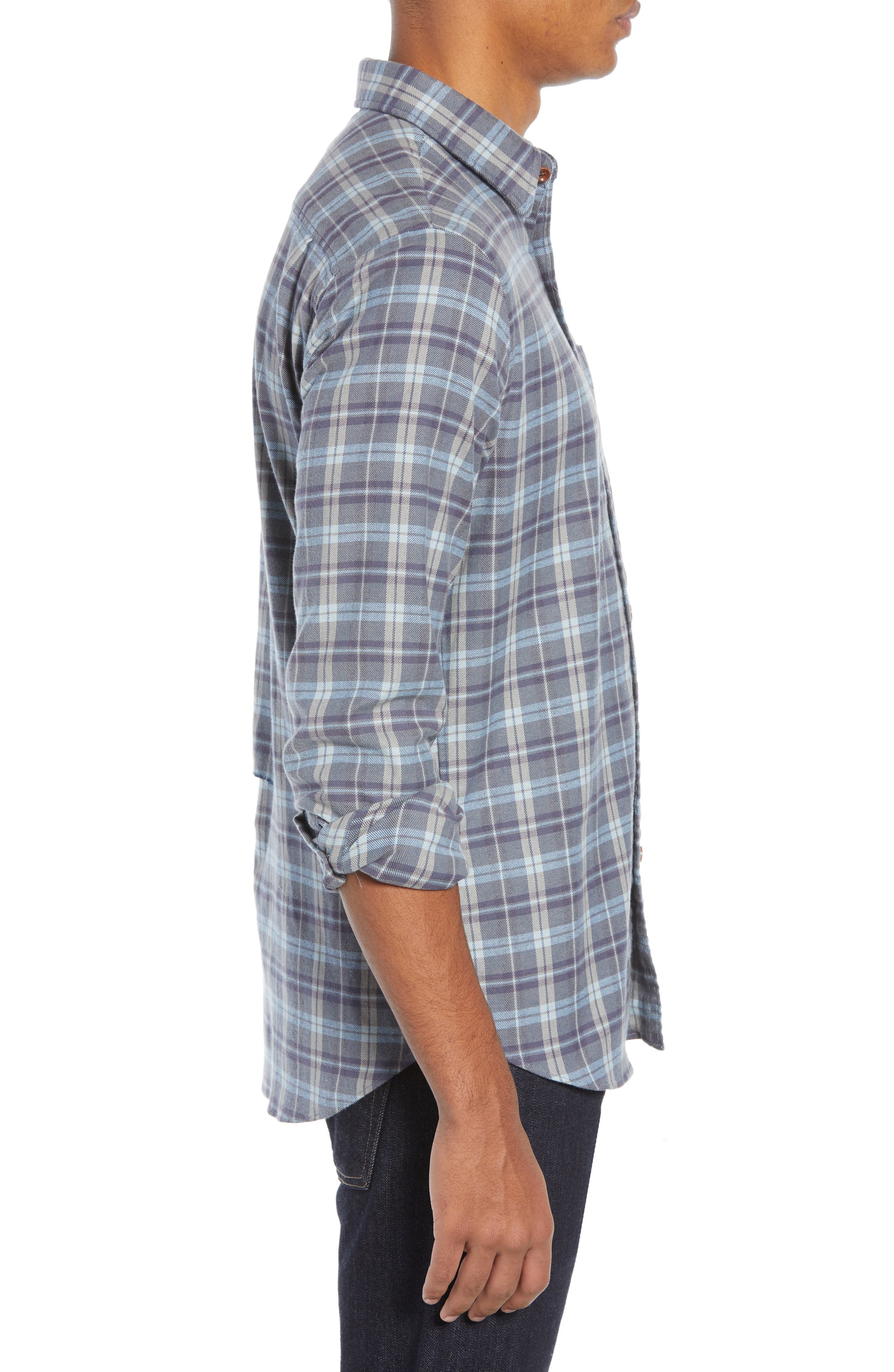 Seaview Stretch Flannel Shirt,                             Alternate thumbnail 4, color,                             DARK BLUE GREY