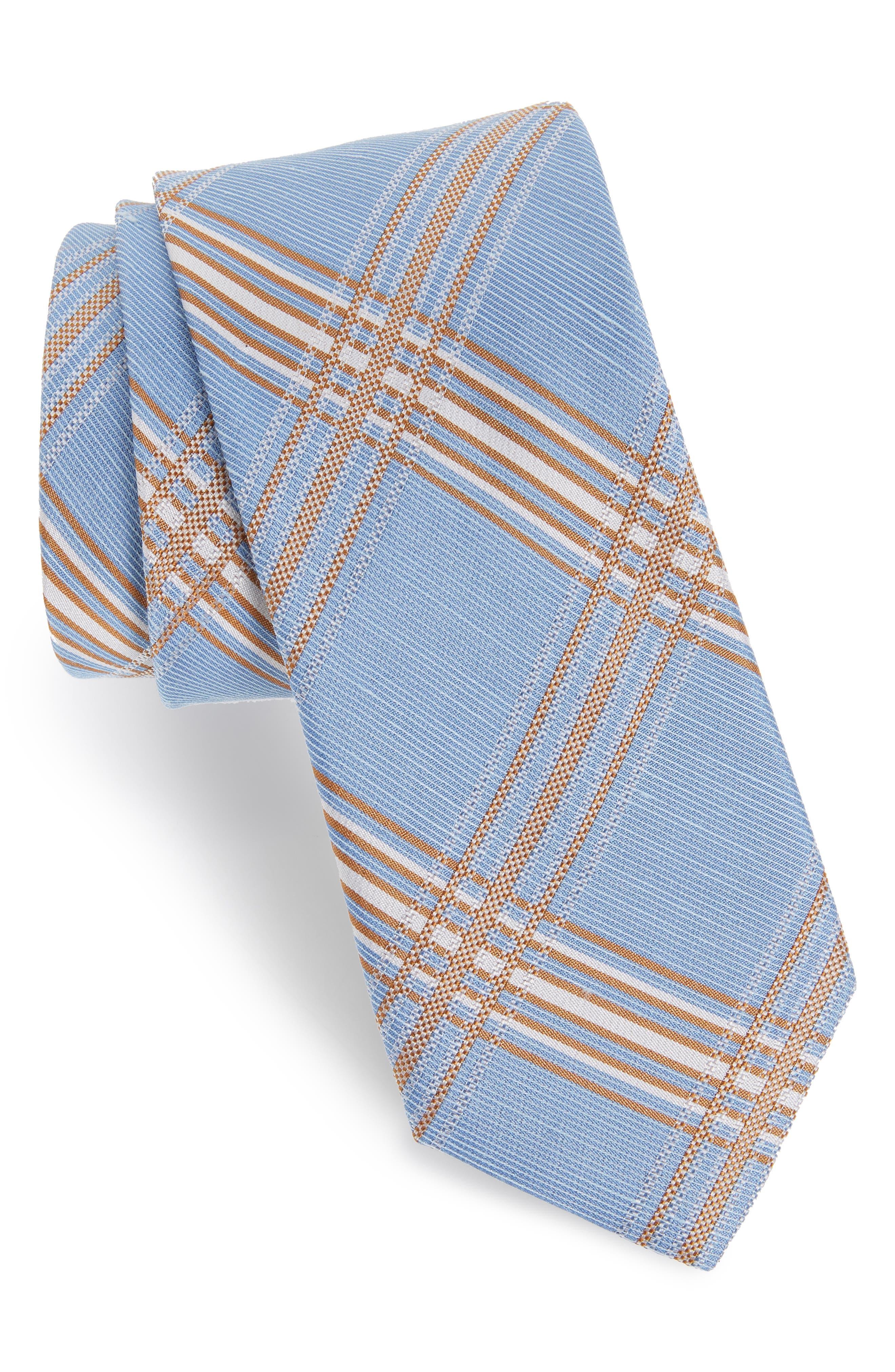 KP Plaid Silk & Linen Tie,                         Main,                         color, LIGHT BLUE