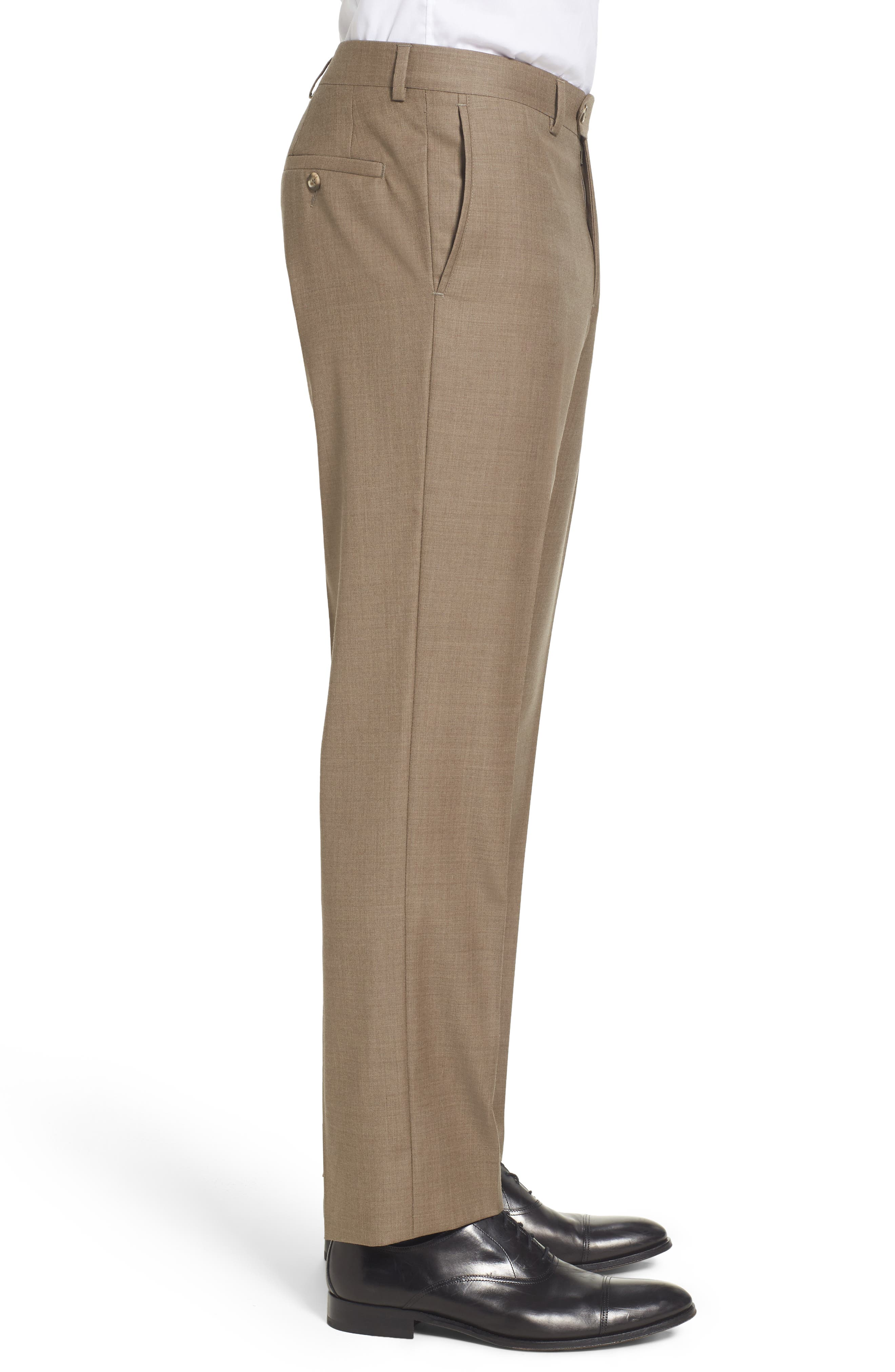 Flat Front Solid Wool Trousers,                             Alternate thumbnail 23, color,
