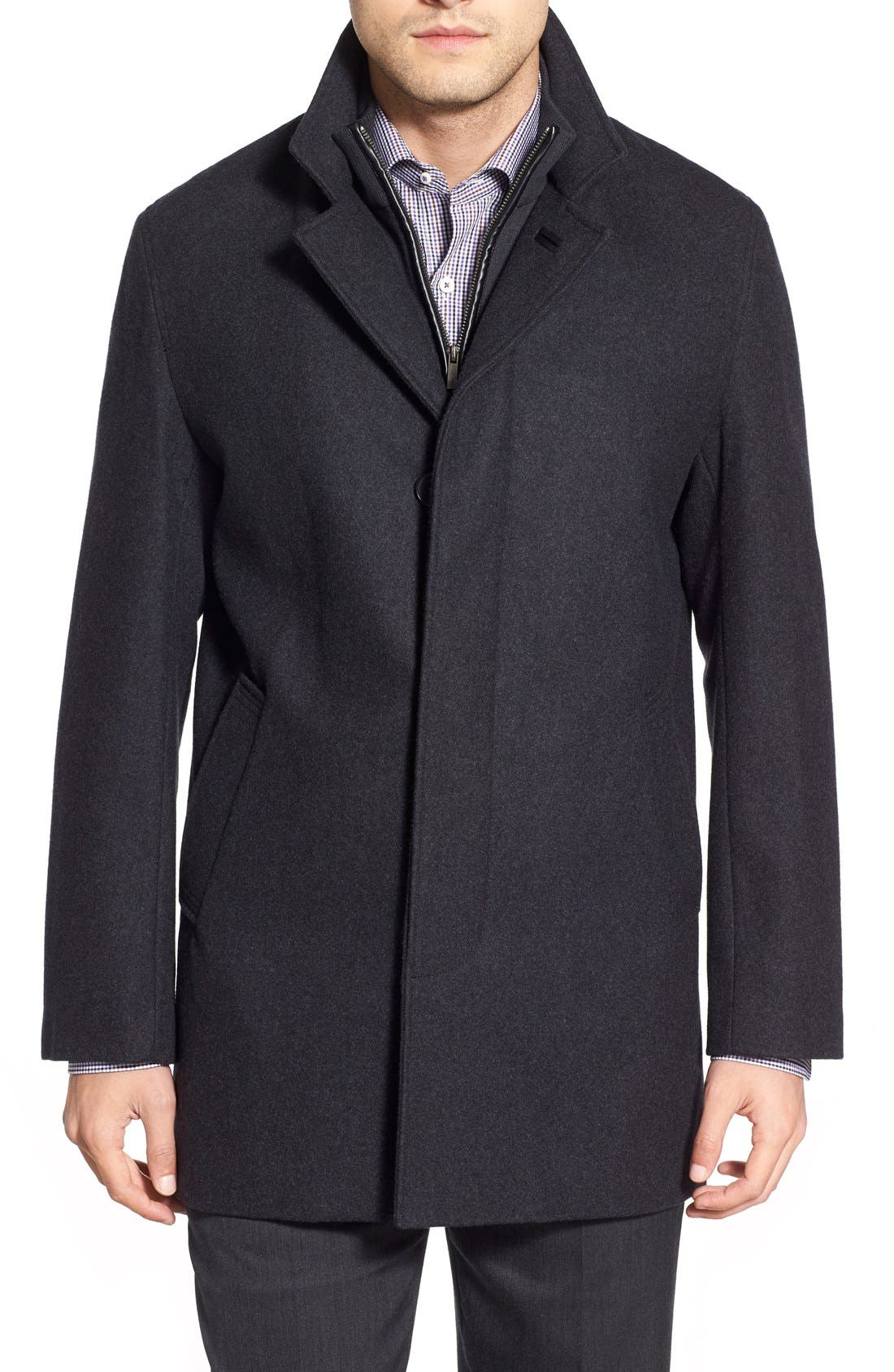 Wool Blend Topcoat with Inset Knit Bib,                             Main thumbnail 2, color,