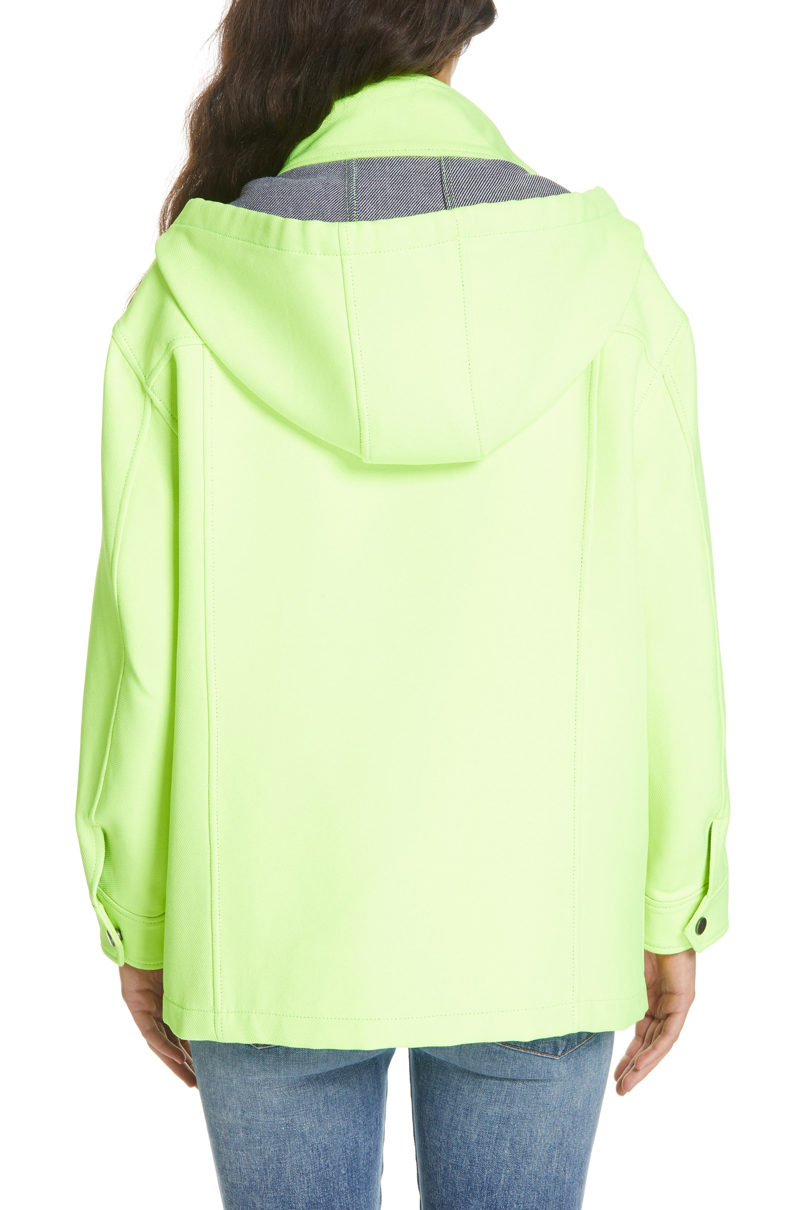 ALICE + OLIVIA,                             Russo Hooded Jacket,                             Alternate thumbnail 2, color,                             NEON YELLOW