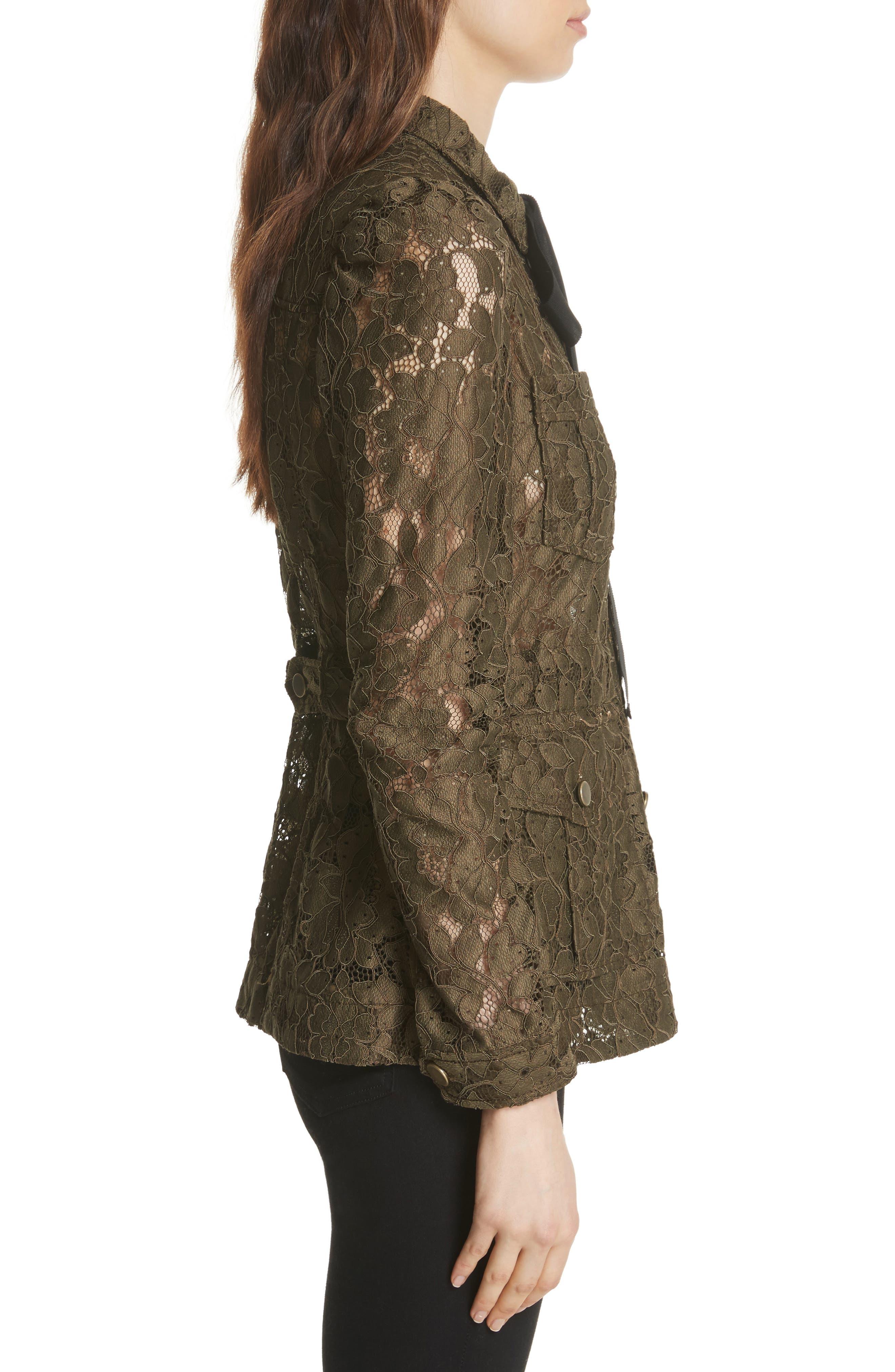Daniela Tie Neck Lace Army Jacket,                             Alternate thumbnail 3, color,                             310