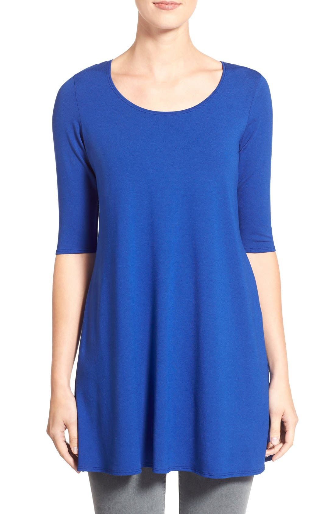 Scoop Neck Elbow Sleeve Jersey Tunic,                             Main thumbnail 11, color,