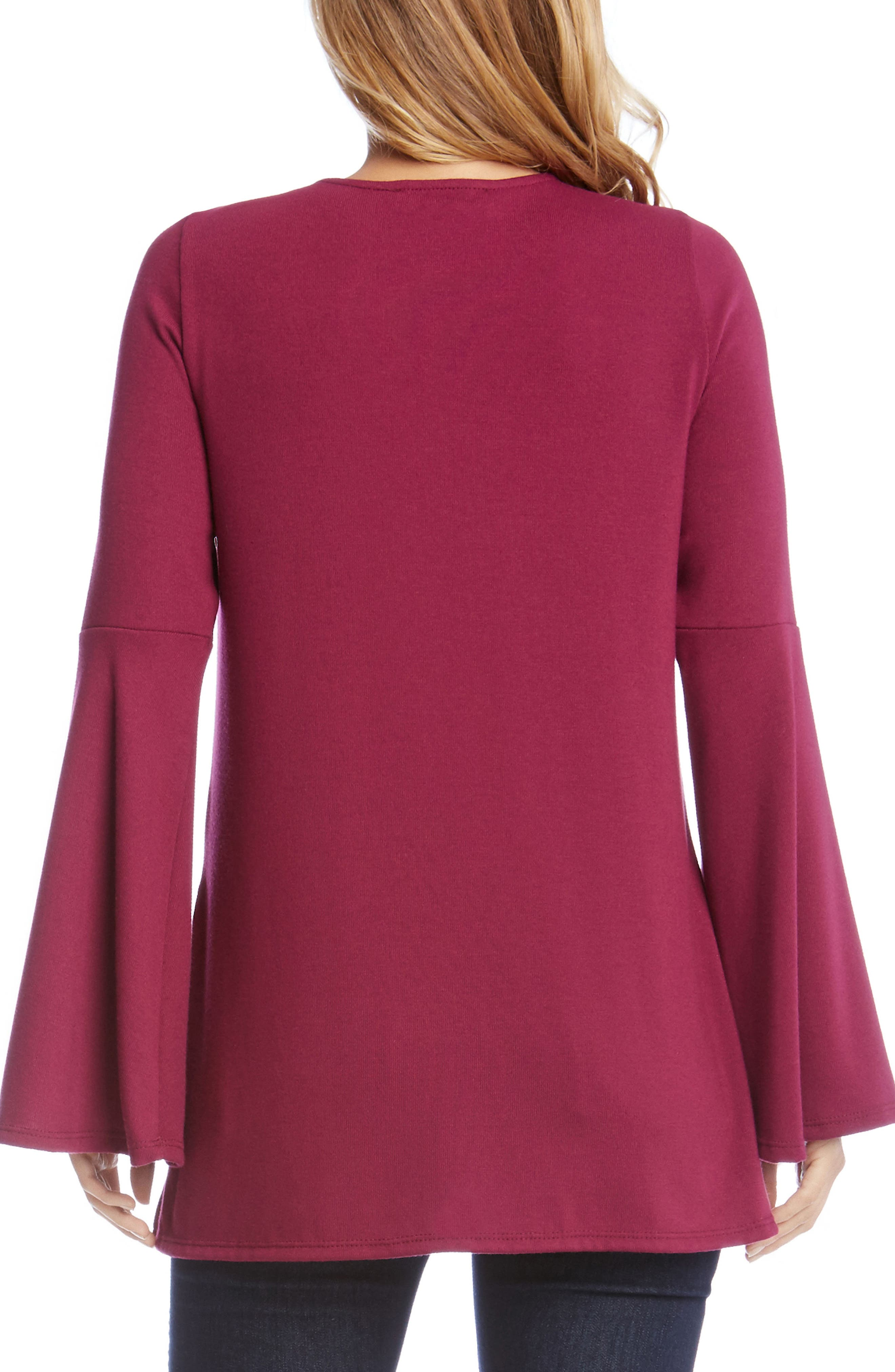 Bell Sleeve Lace-Up Top,                             Alternate thumbnail 6, color,