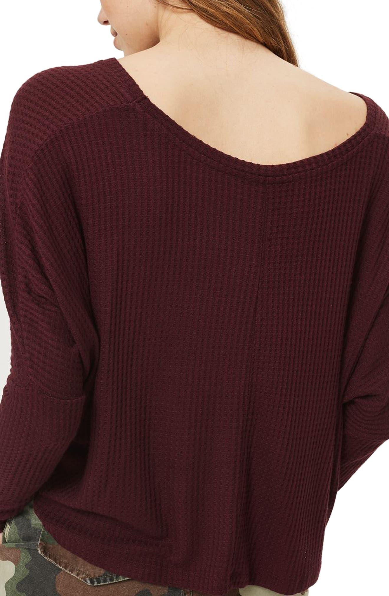 Waffle Knit Sweatshirt,                             Alternate thumbnail 4, color,