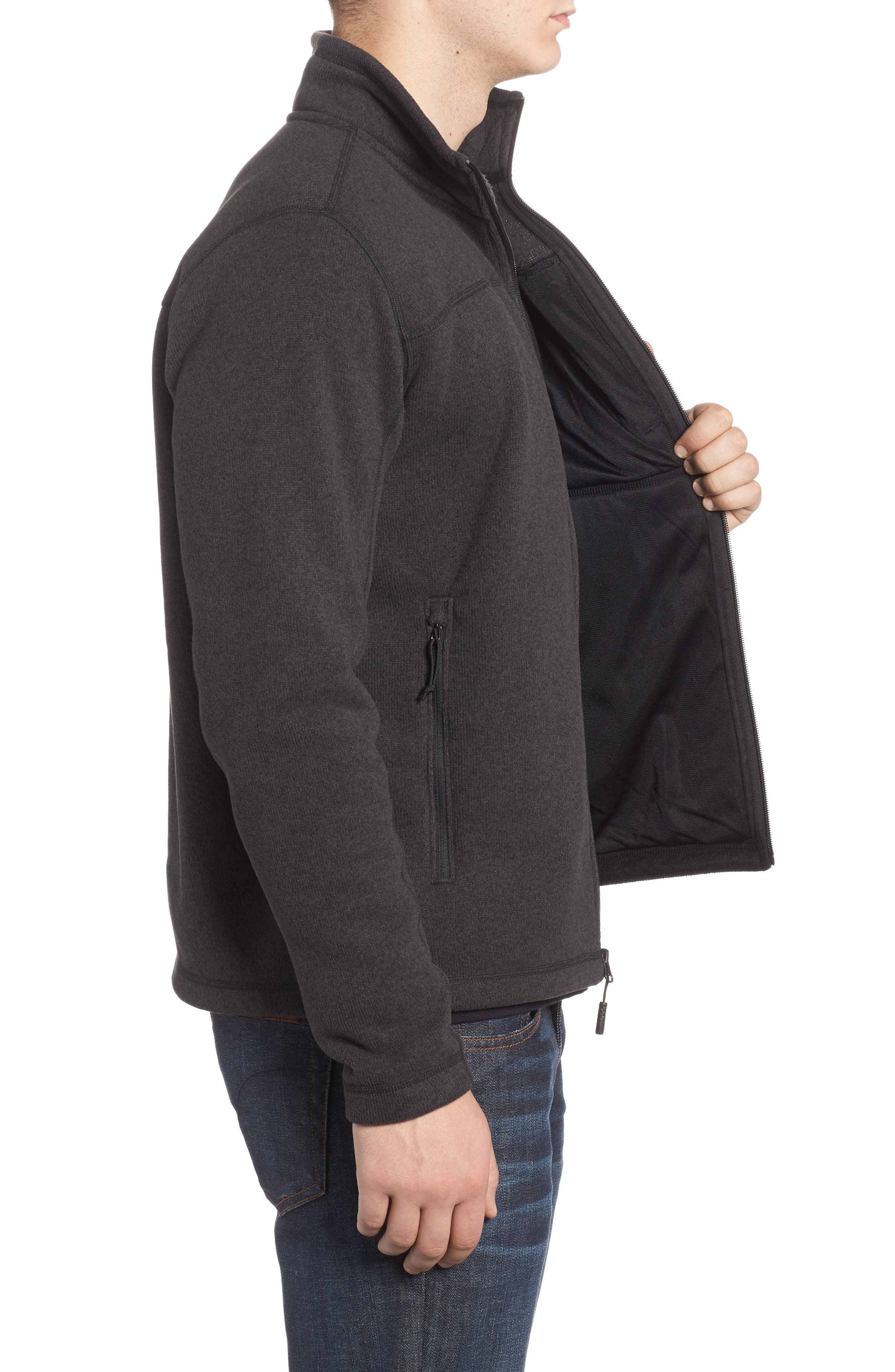 'Gordon Lyons' Zip Fleece Jacket,                             Alternate thumbnail 3, color,                             BLACK HEATHER