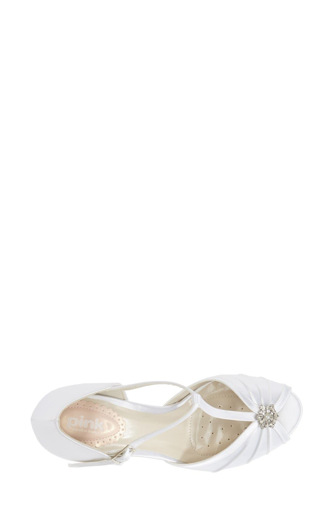 'Perfume' T-Strap Peep Toe Pump,                             Alternate thumbnail 3, color,                             WHITE SATIN