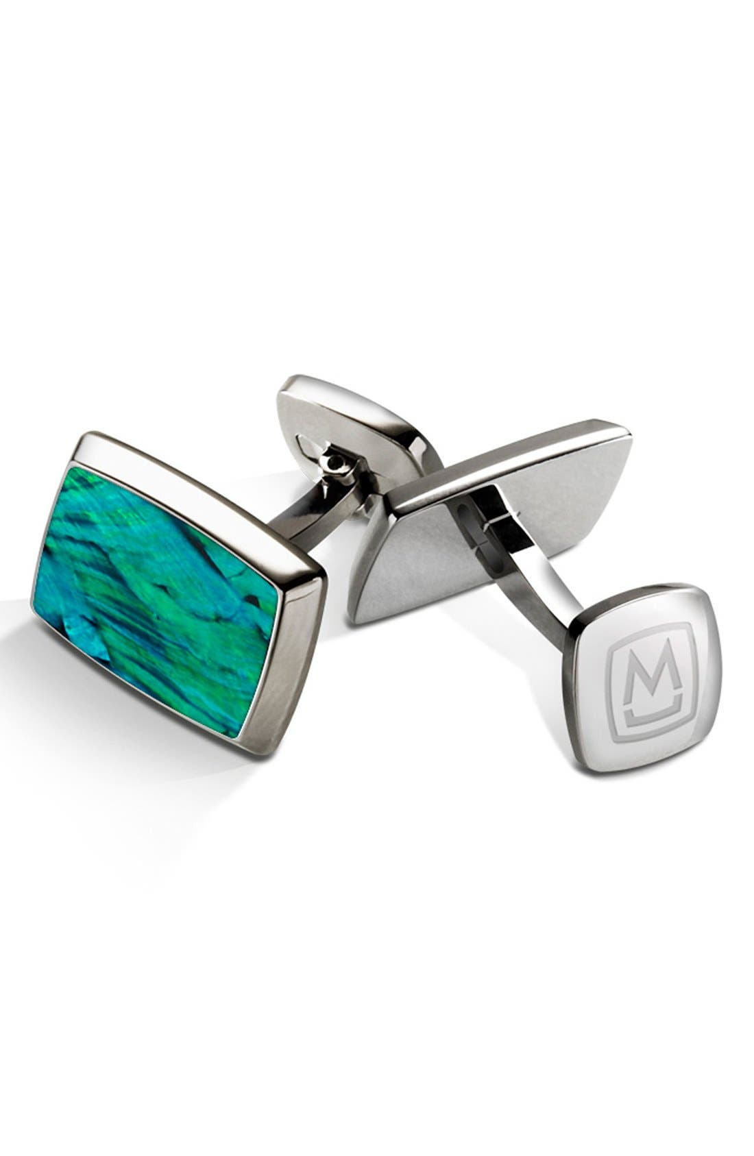 Abalone Cuff Links,                             Main thumbnail 1, color,                             STAINLESS STEEL/ TEAL