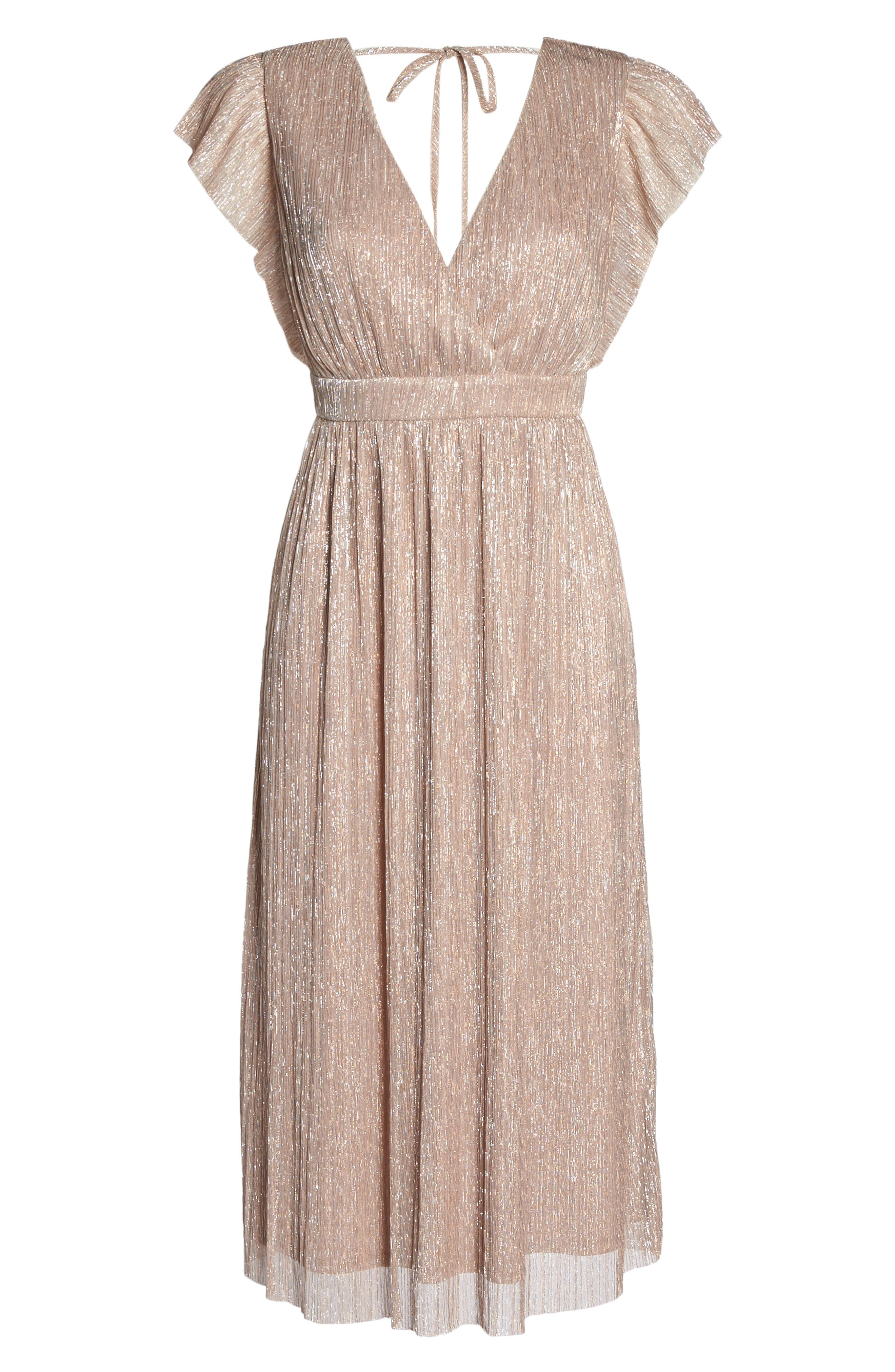 Metallic Midi Dress,                             Alternate thumbnail 6, color,                             650