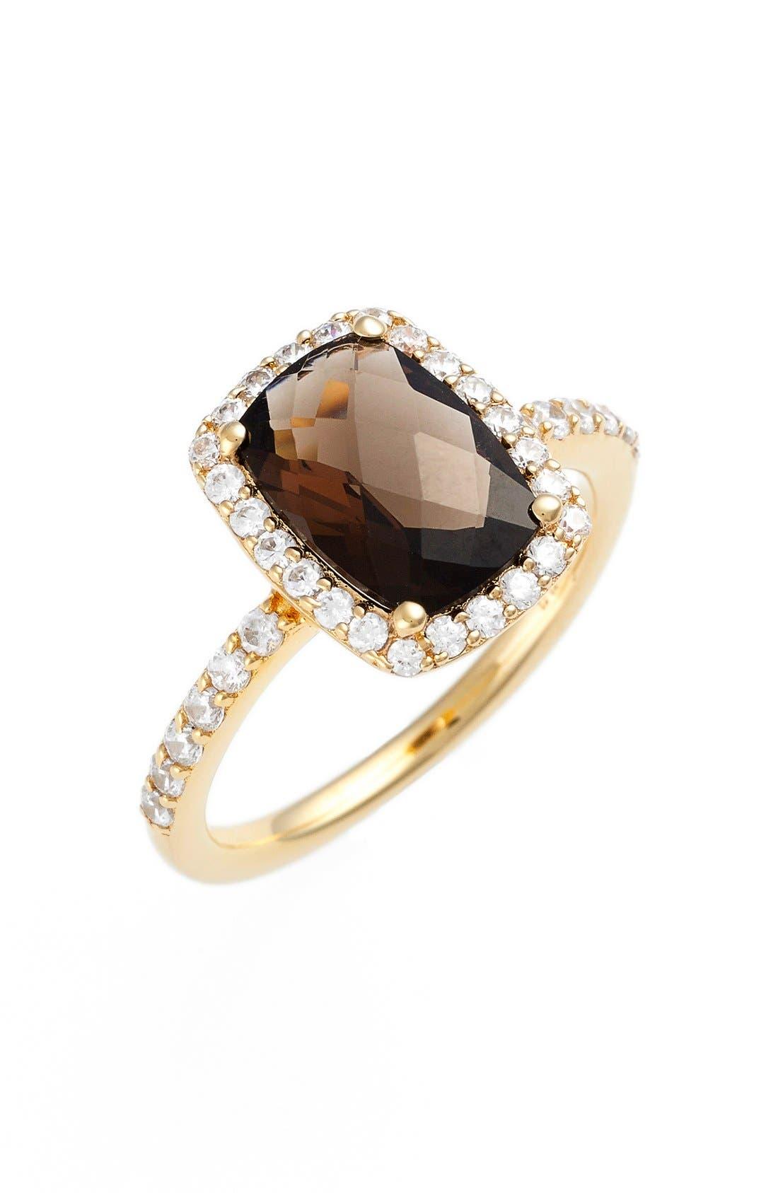 'Aria' Rectangle Cushion Cut Ring,                         Main,                         color, GOLD/ SMOKEY QUARTZ