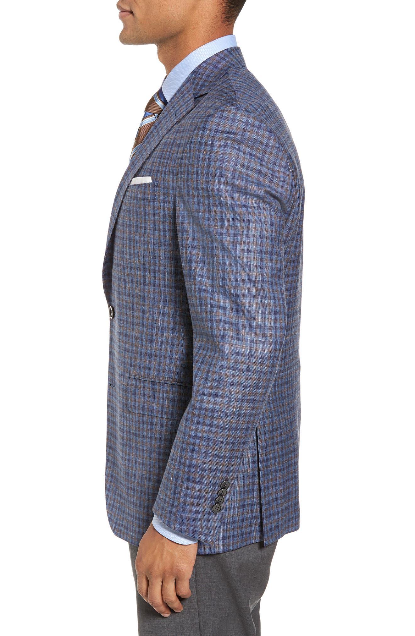 Ashton Classic Fit Stretch Check Wool Blend Sport Coat,                             Alternate thumbnail 3, color,