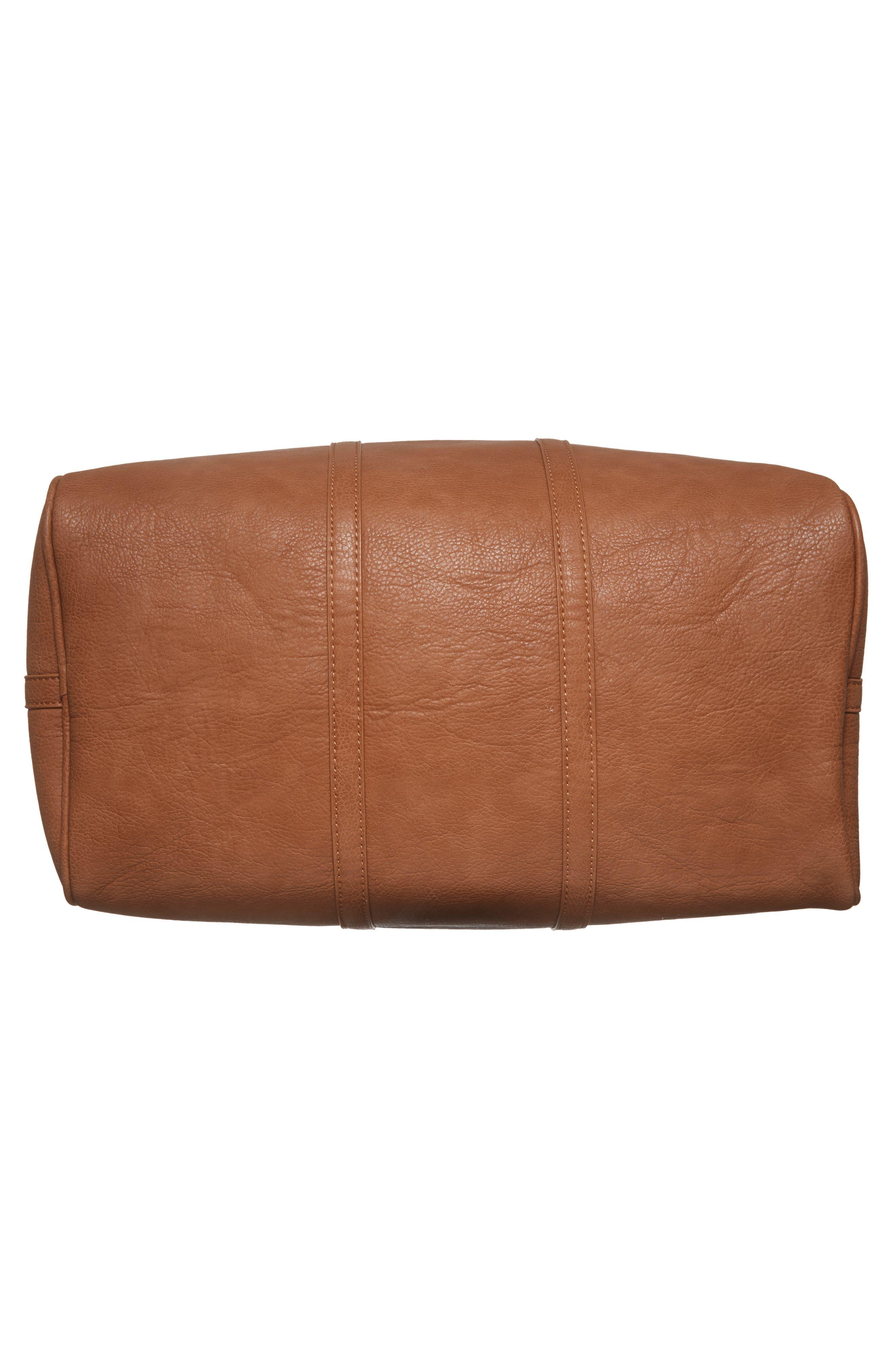 'Cassidy' Faux Leather Duffel Bag,                             Alternate thumbnail 6, color,                             COGNAC