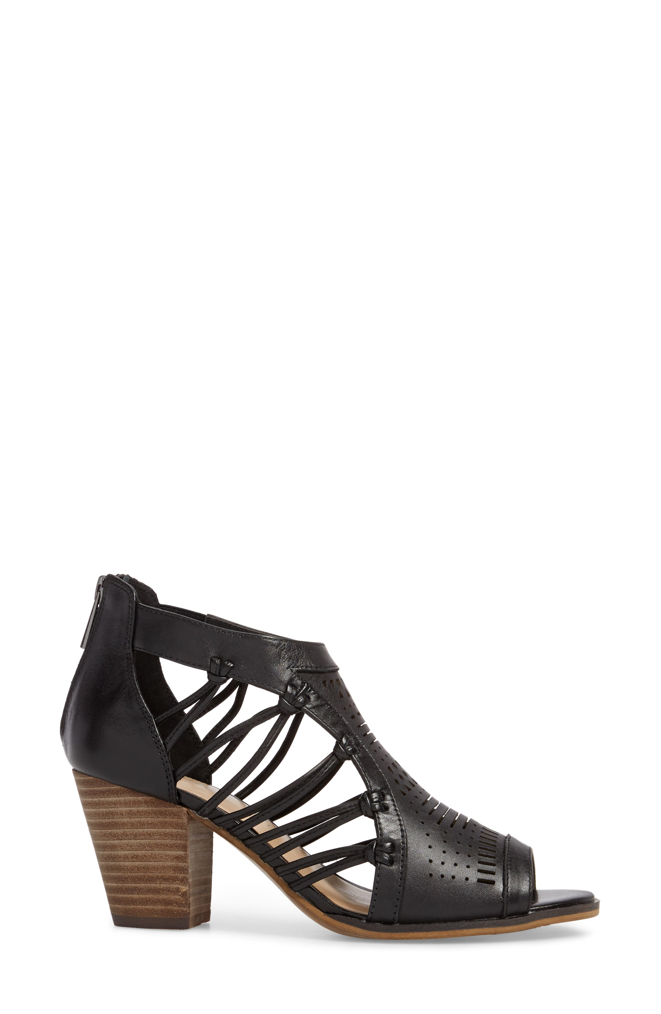 Kortez Block Heel Sandal,                             Alternate thumbnail 3, color,                             BLACK LEATHER