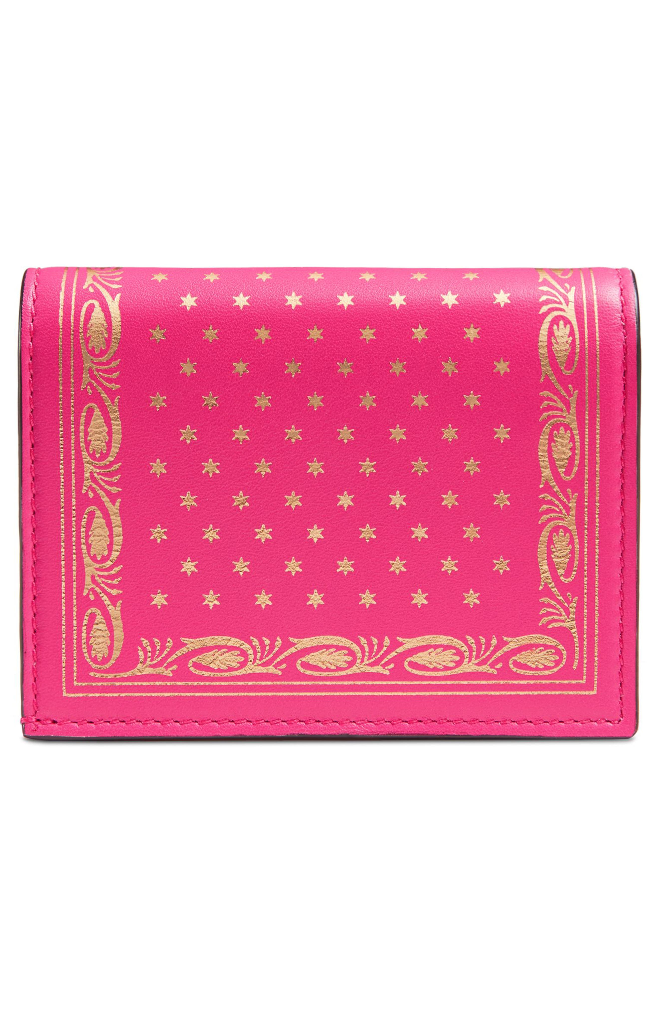 Guccy Logo Moon & Stars Leather Flap Card Case,                             Alternate thumbnail 3, color,                             BRIGHT FUCSIA ORO