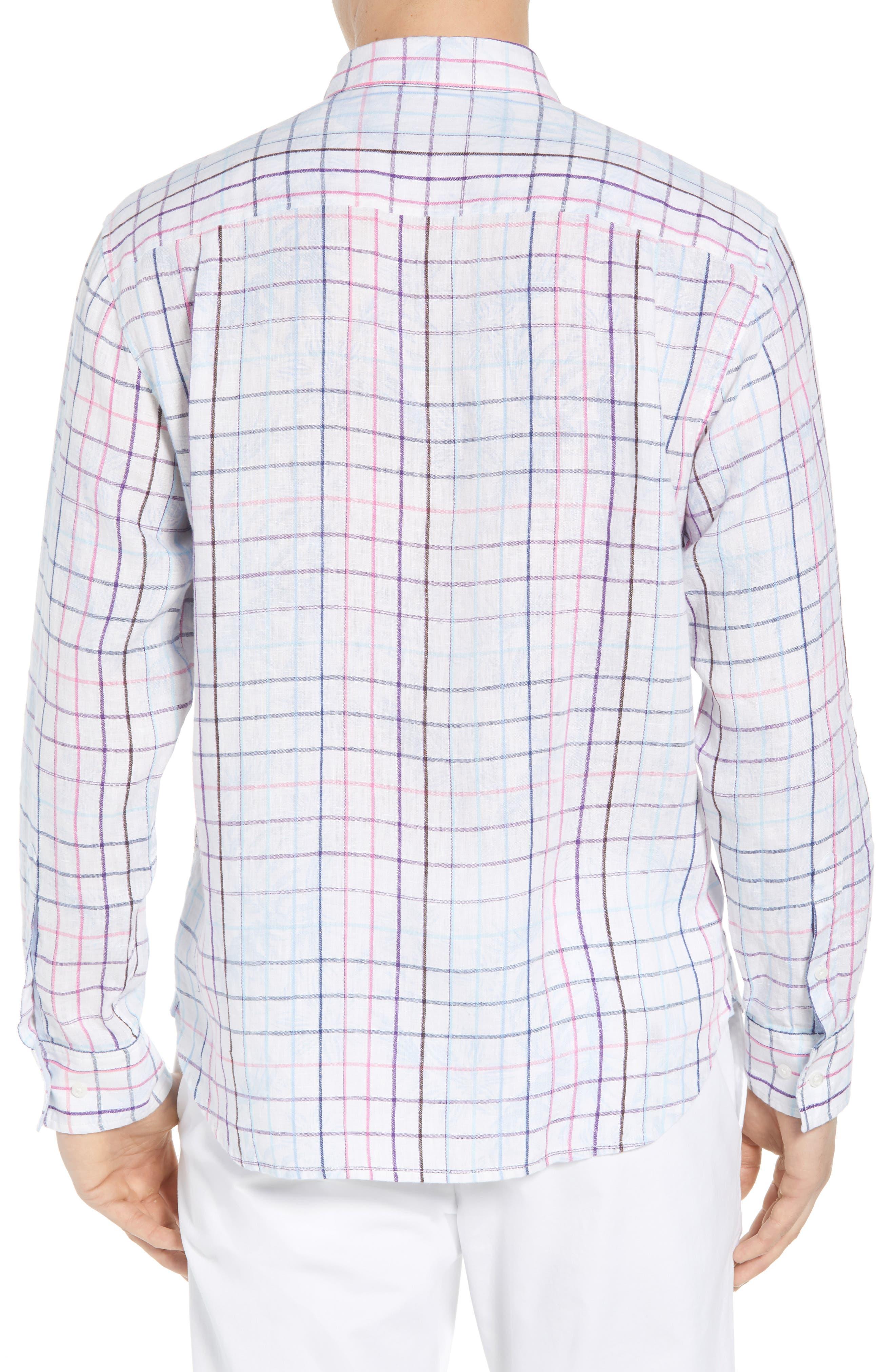Tulum Terrace Check Linen Sport Shirt,                             Alternate thumbnail 2, color,                             BOWTIE BLUE