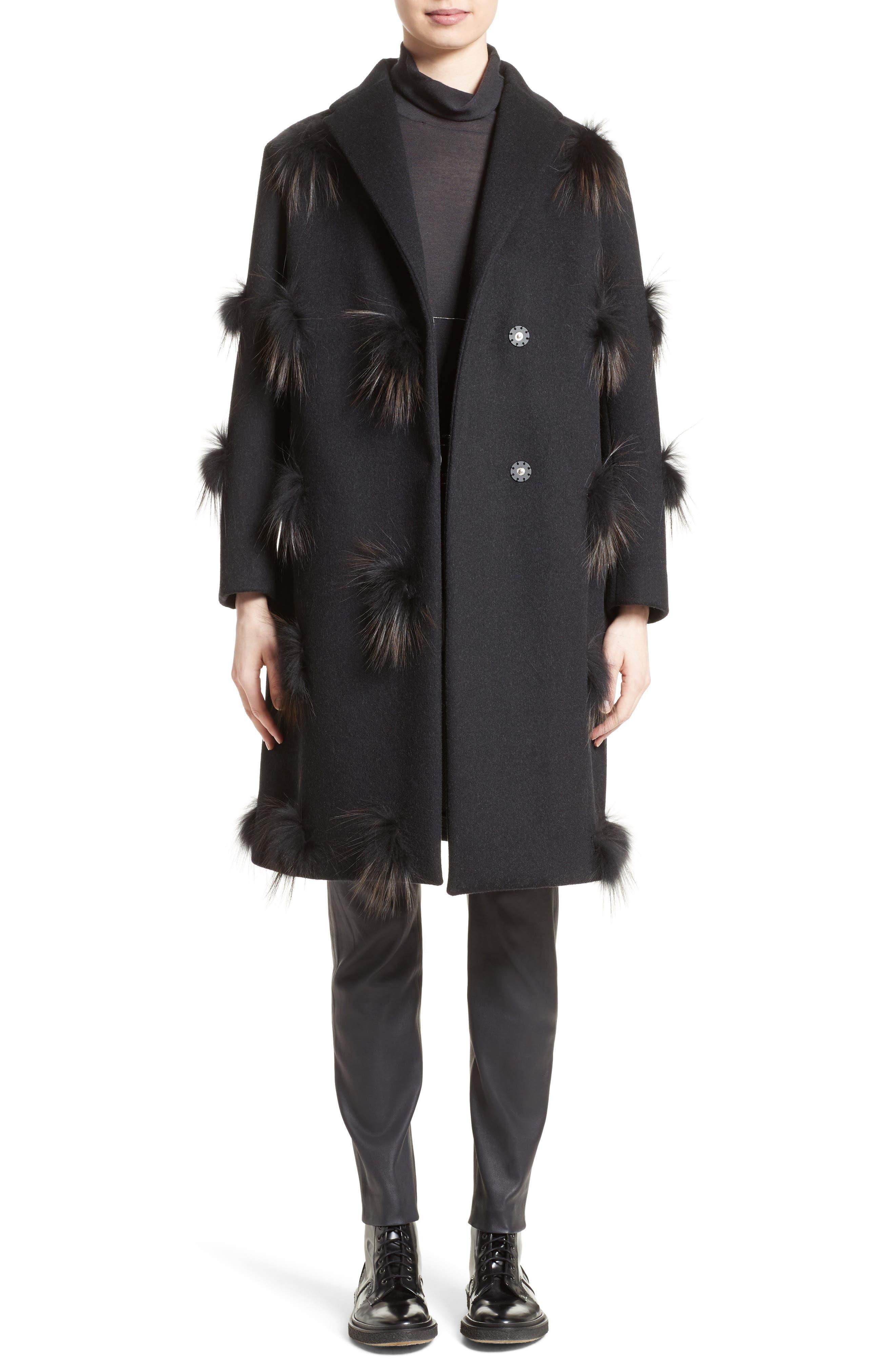 Genuine Fox Fur Trim Wool Blend Coat,                             Alternate thumbnail 7, color,                             001