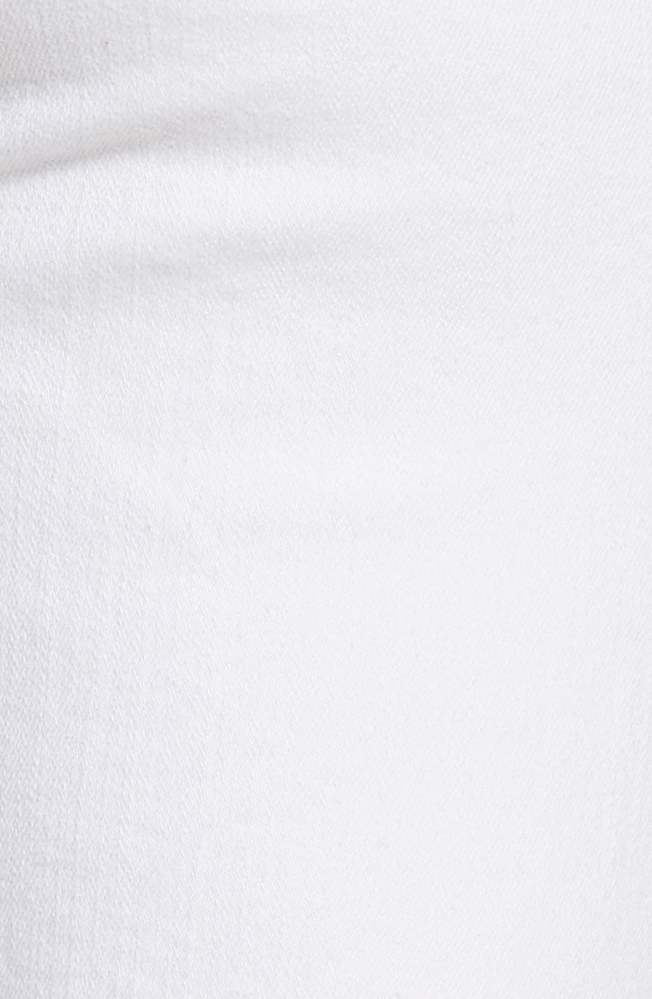 Stretch Straight Leg Crop Jeans,                             Alternate thumbnail 5, color,                             WHITE DENIM