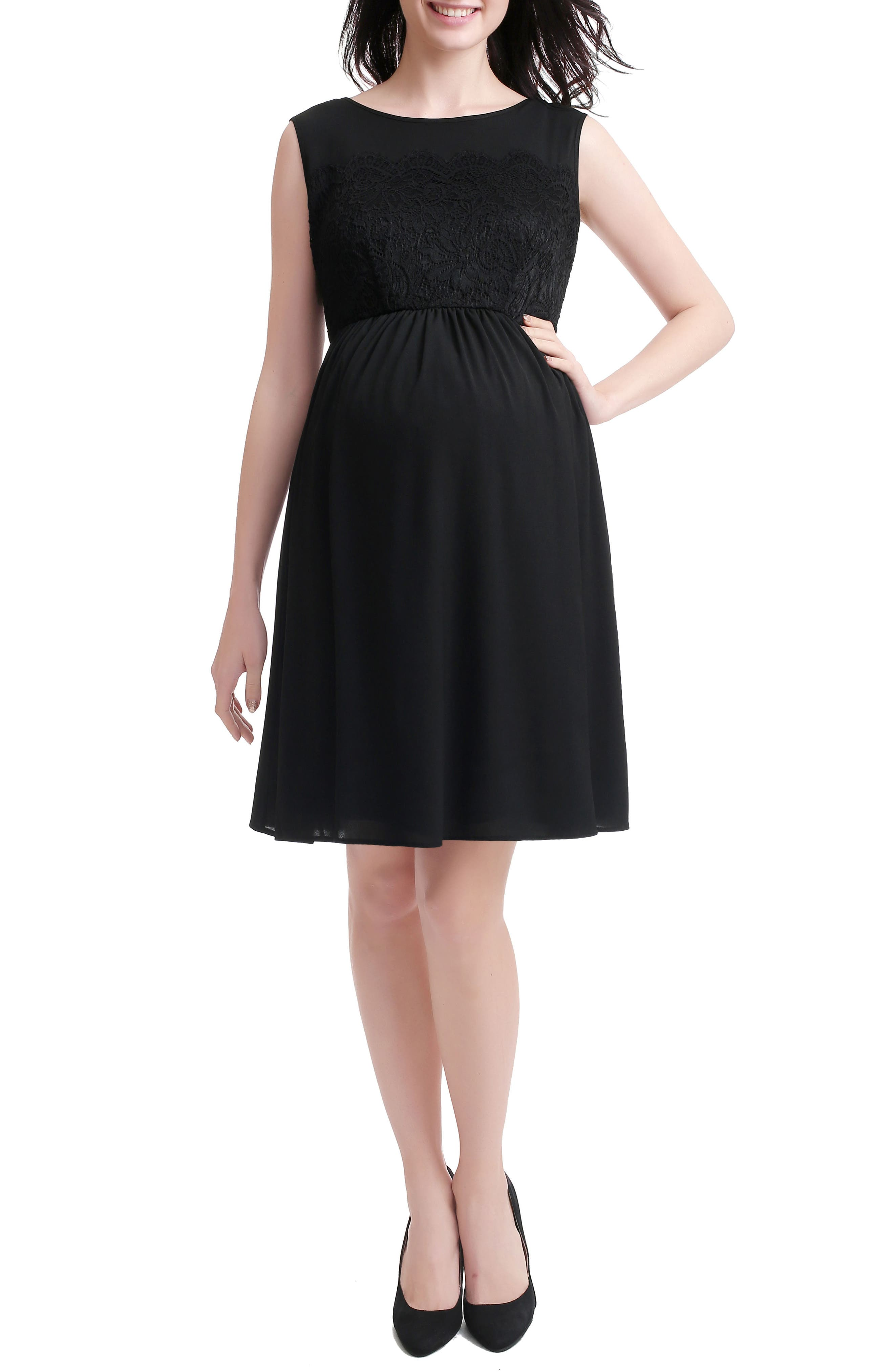 Sade Lace & Mesh Maternity Dress,                         Main,                         color, BLACK