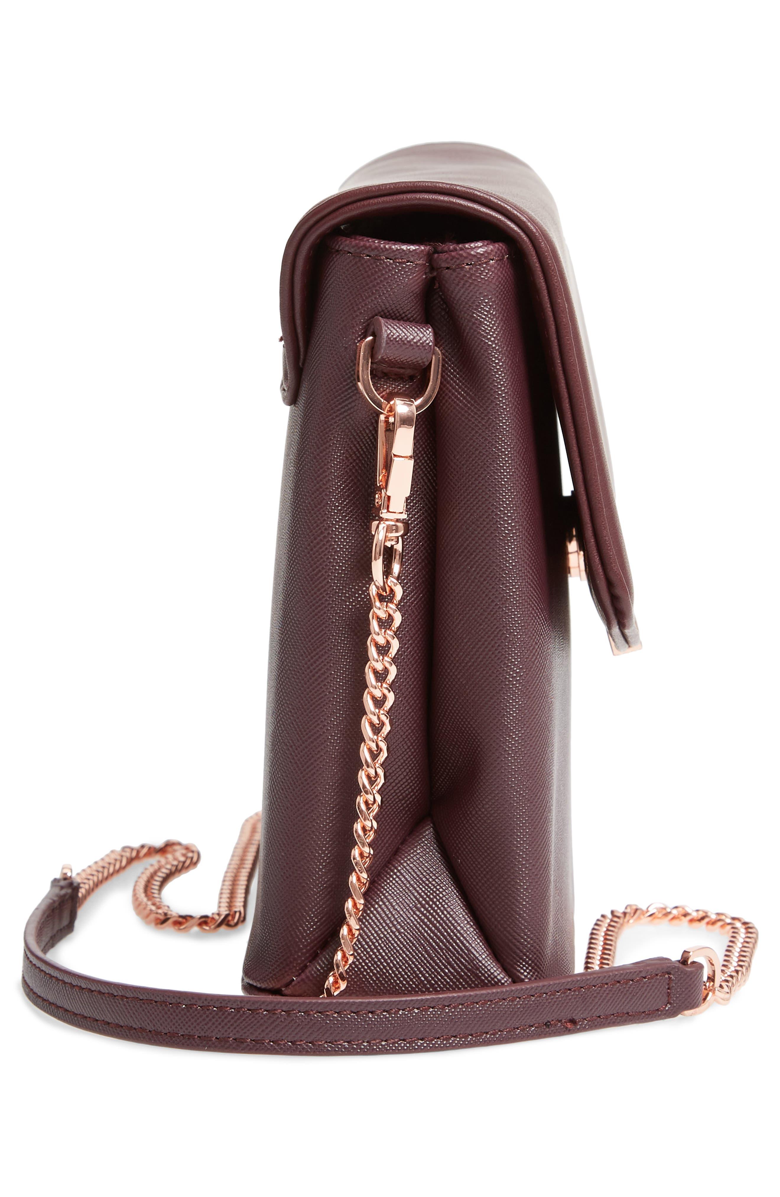 Faux Leather Crossbody Bag,                             Alternate thumbnail 5, color,                             DEEP PURPLE