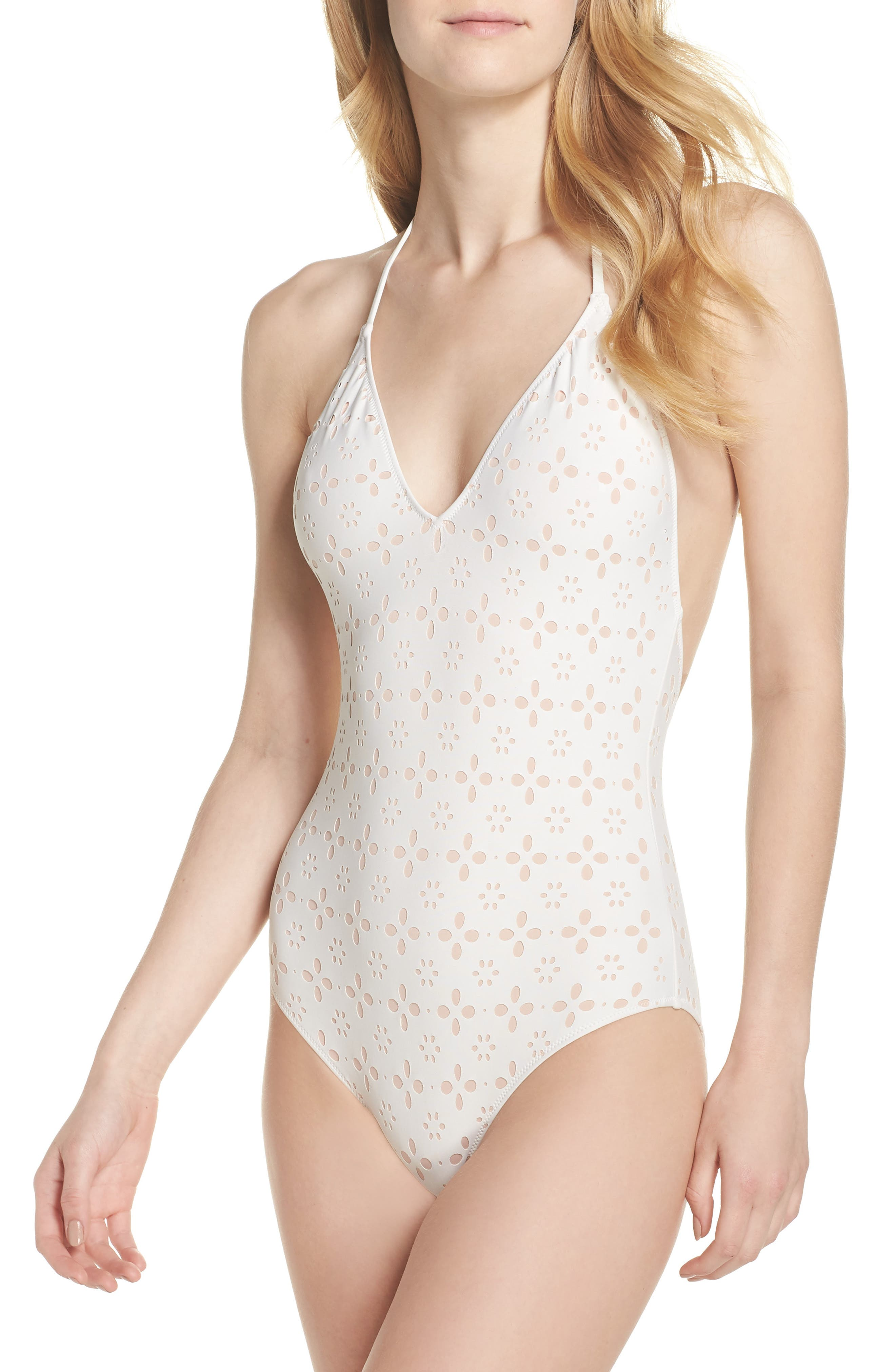 Eyelet Halter One-Piece Swimsuit,                             Main thumbnail 2, color,