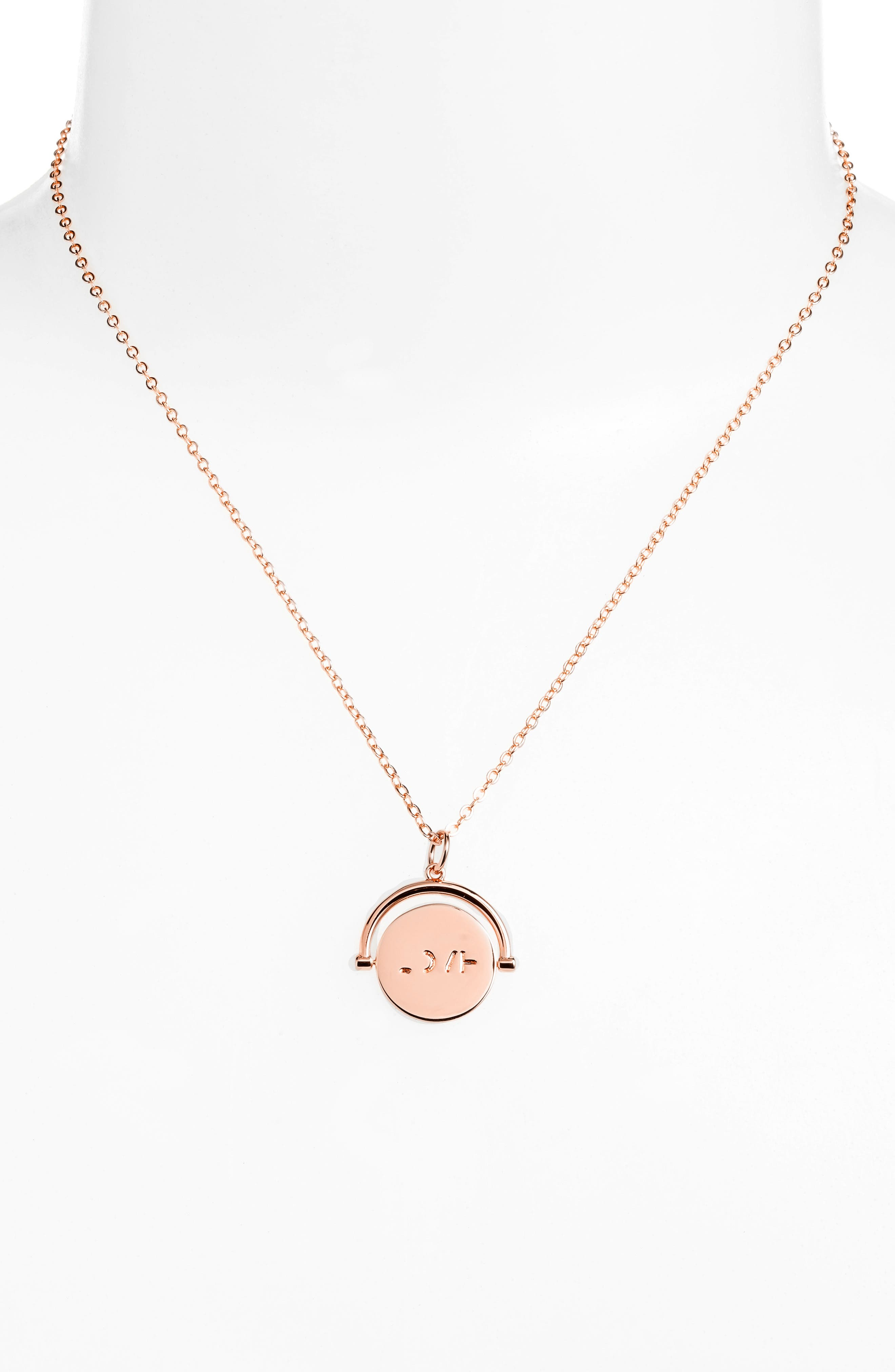 Love Code Spinning Pendant Necklace,                             Alternate thumbnail 17, color,