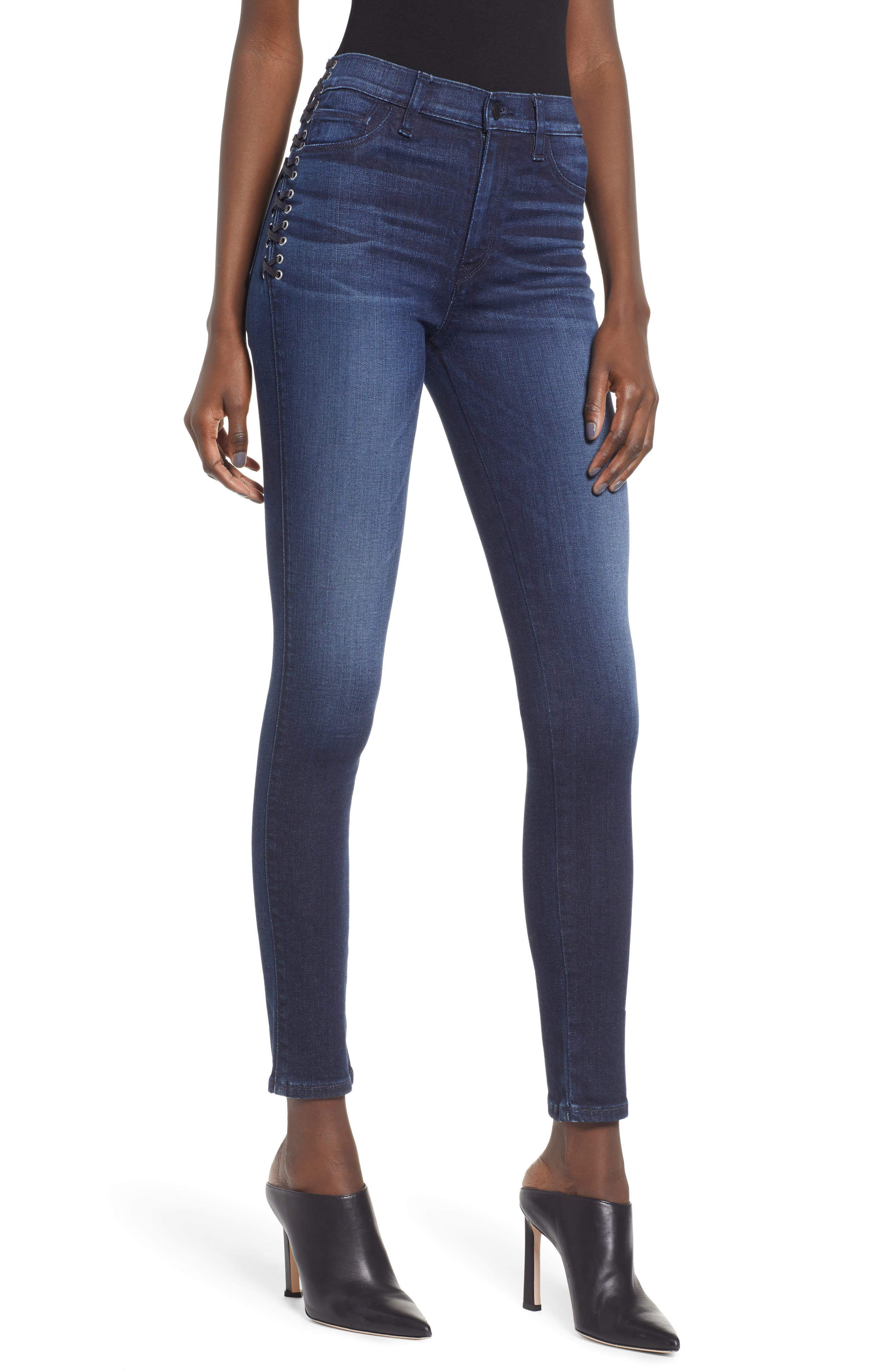Barbara Lace-Up Ankle Skinny Jeans In Moonlight in Moon Light