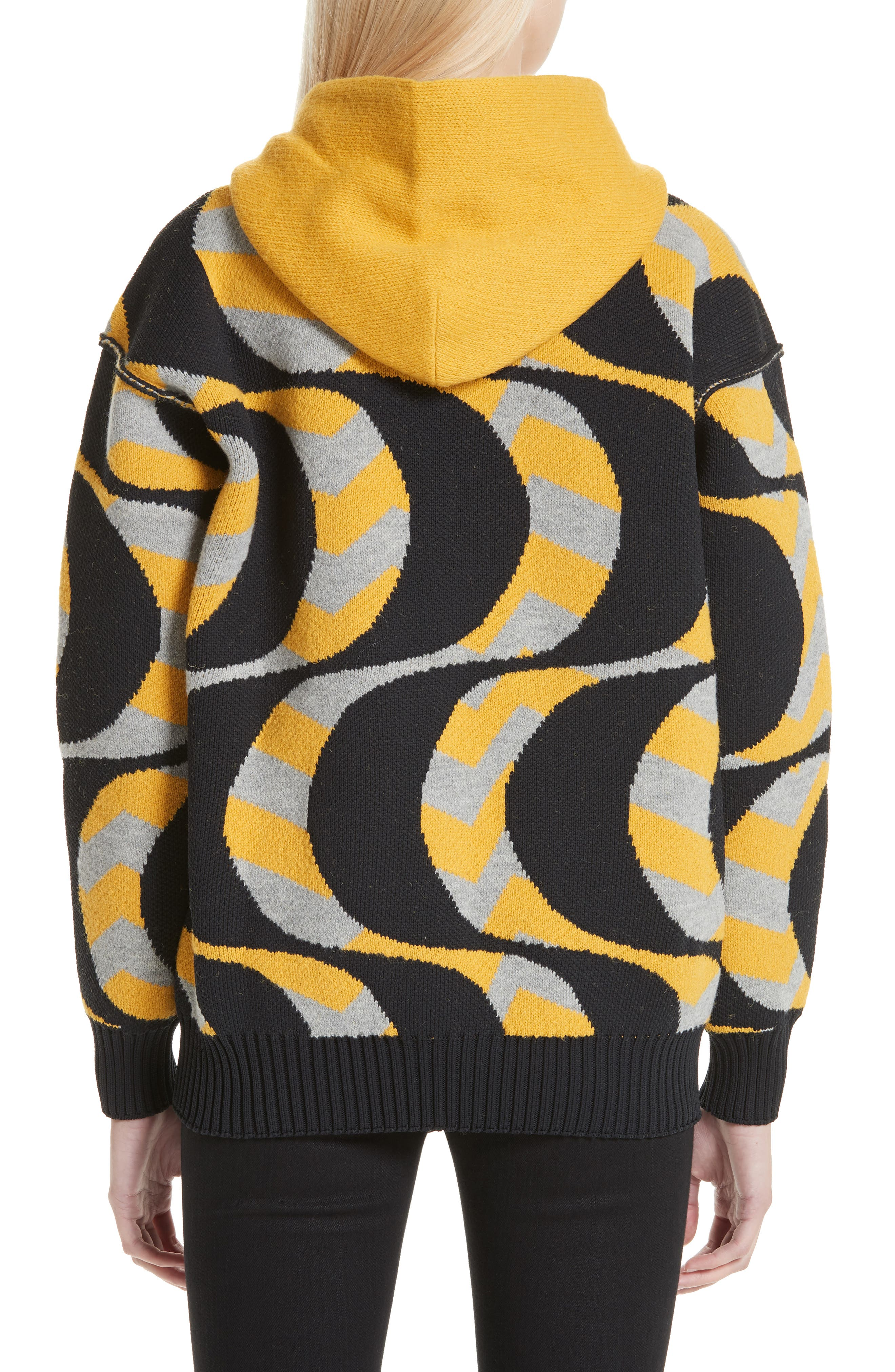 Swirl Print Oversized Hoodie,                             Alternate thumbnail 2, color,                             BLACK/ YELLOW