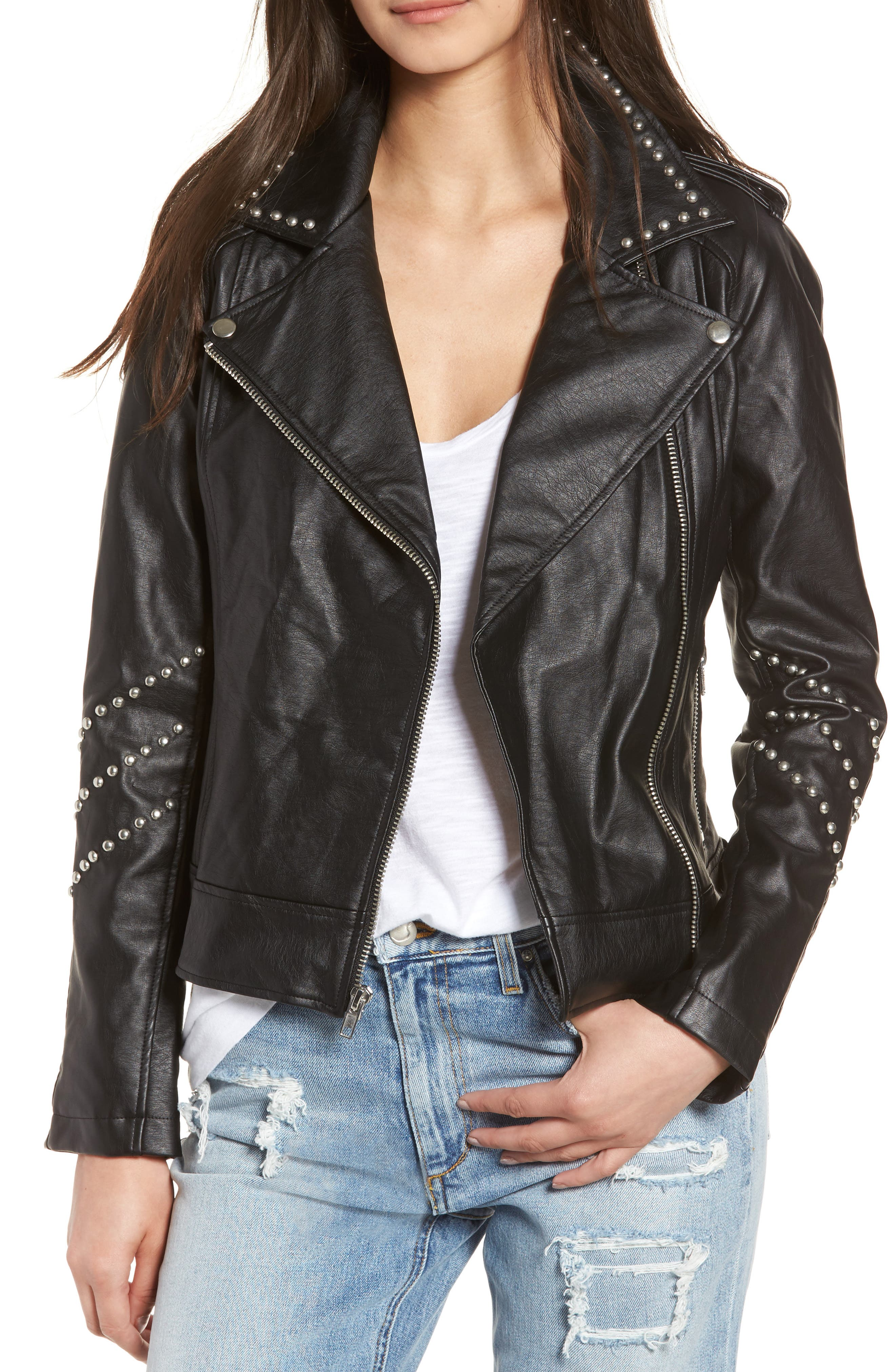 Jerilyn Studded Washed Faux Leather Jacket,                         Main,                         color, 001
