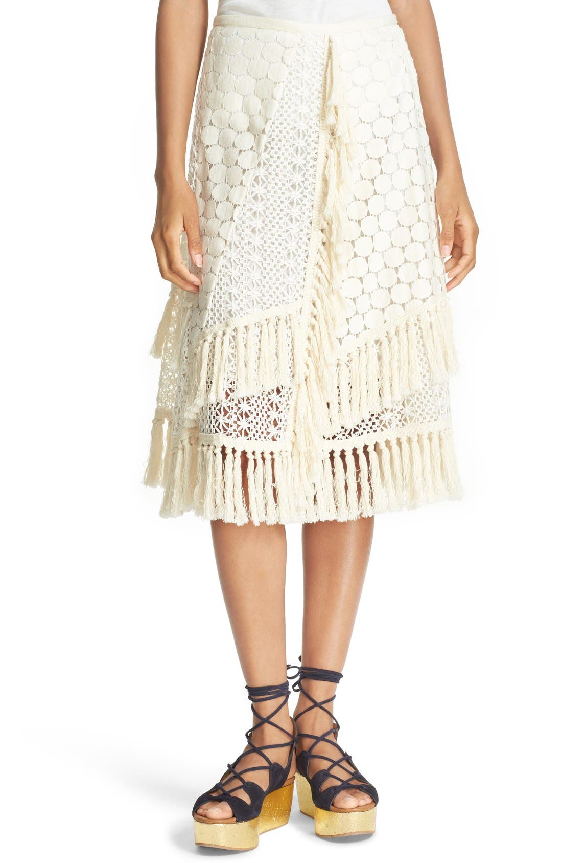 SEE BY CHLOÉ,                             Lace & Fringe Skirt,                             Main thumbnail 1, color,                             900