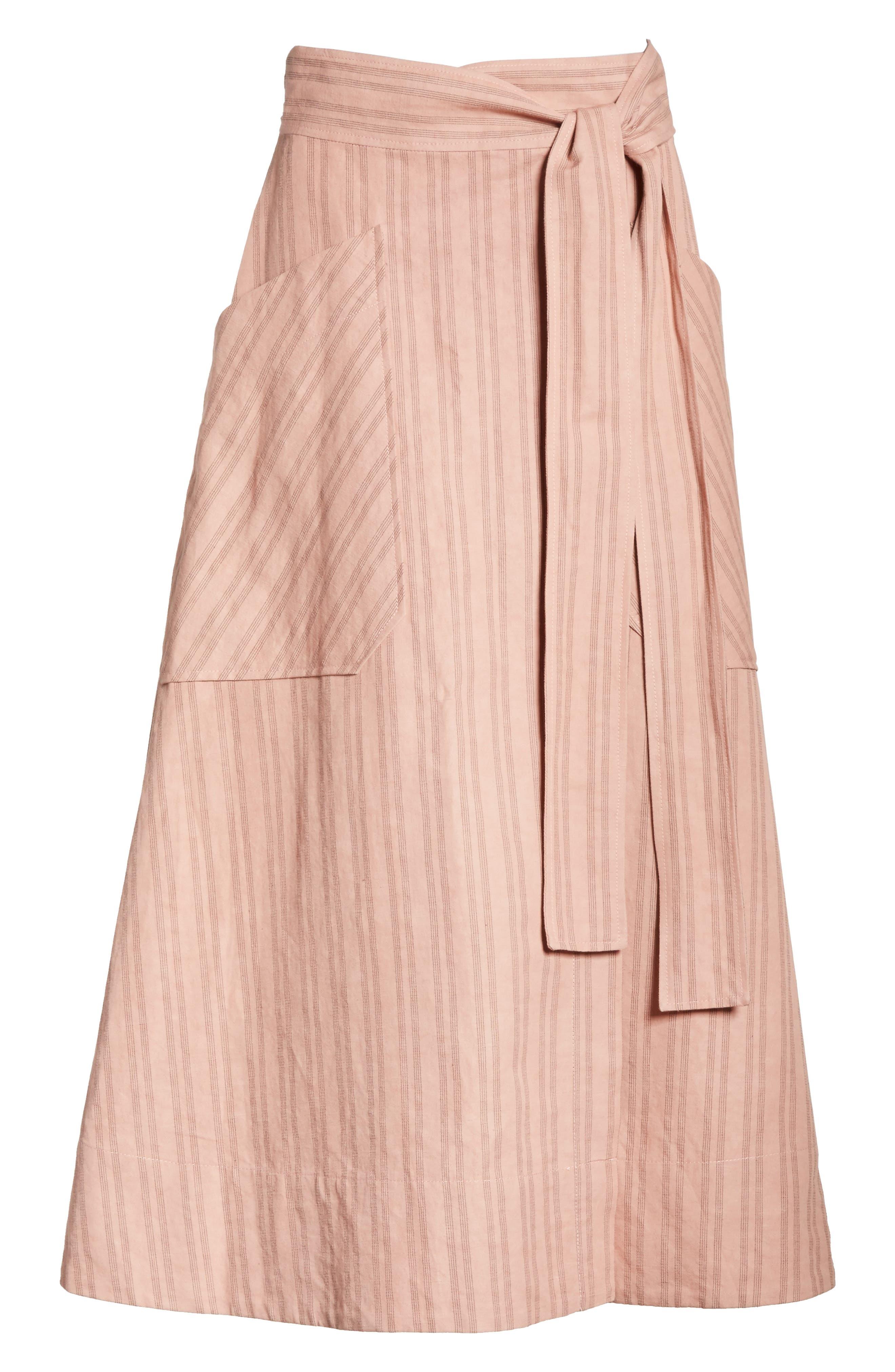 Stripe Wrap Midi Skirt,                             Alternate thumbnail 6, color,                             671