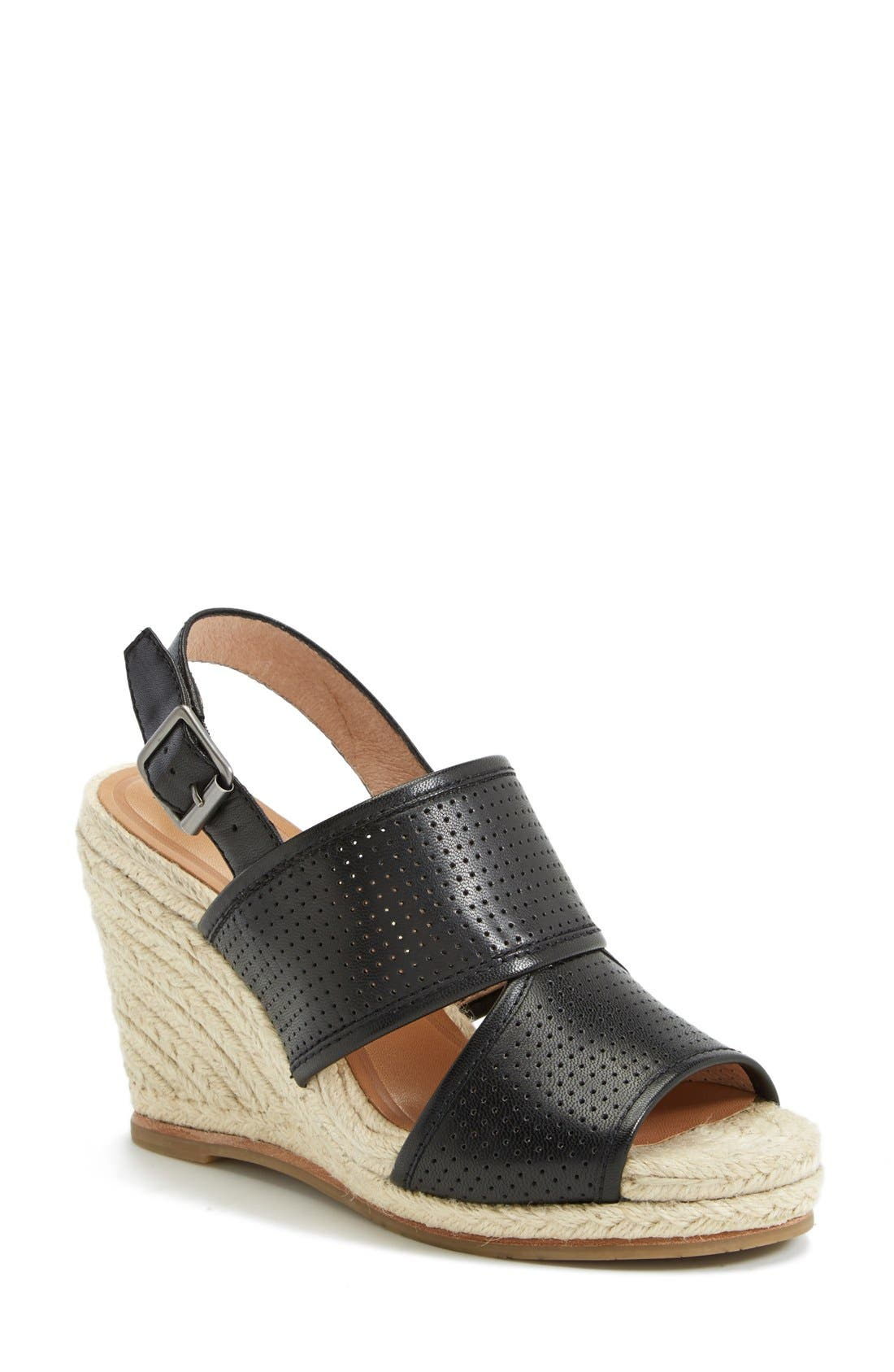 'Joyce' Perforated Espadrille Wedge Sandal,                         Main,                         color, 001