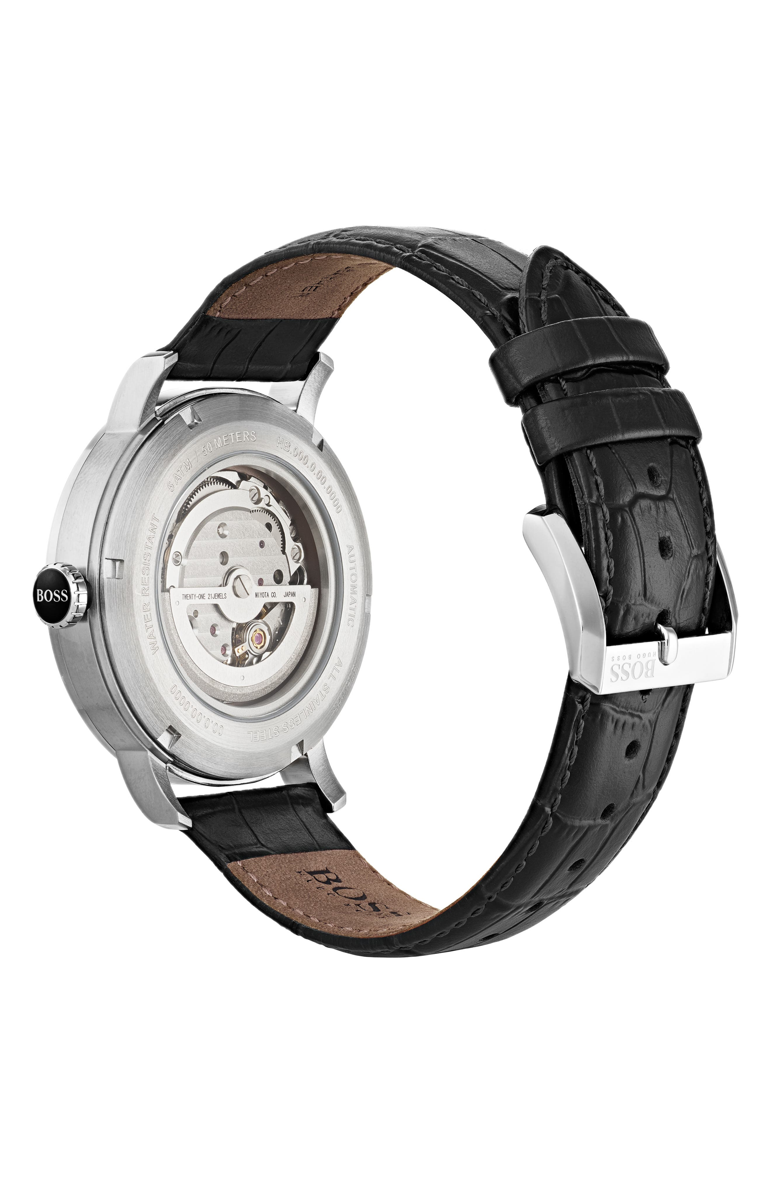 Signature Automatic Leather Strap Watch, 44mm,                             Alternate thumbnail 2, color,                             001