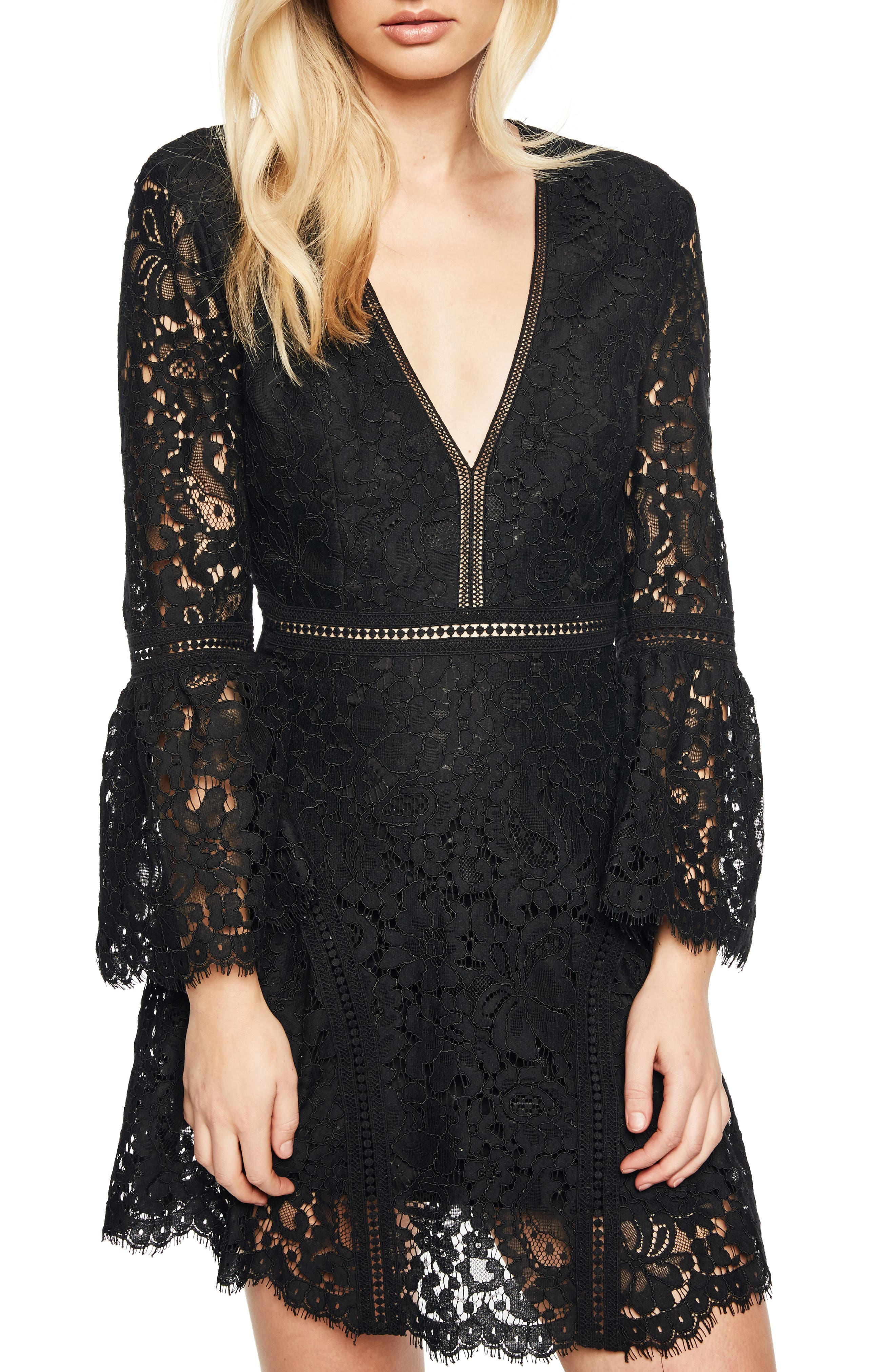 Midnight Lace Minidress,                             Main thumbnail 1, color,                             002