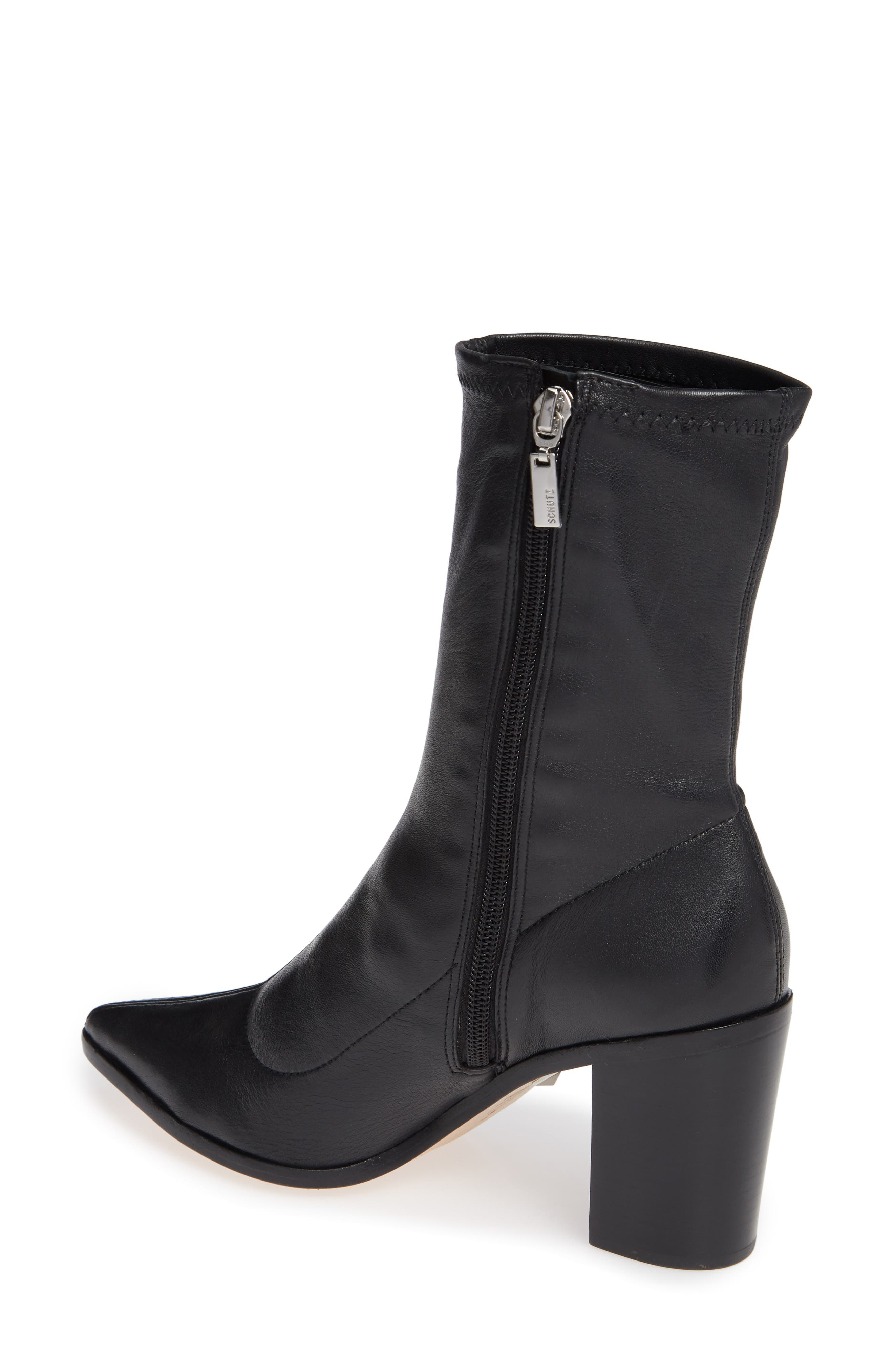Amellie Pointy Toe Bootie,                             Alternate thumbnail 2, color,                             BLACK LEATHER