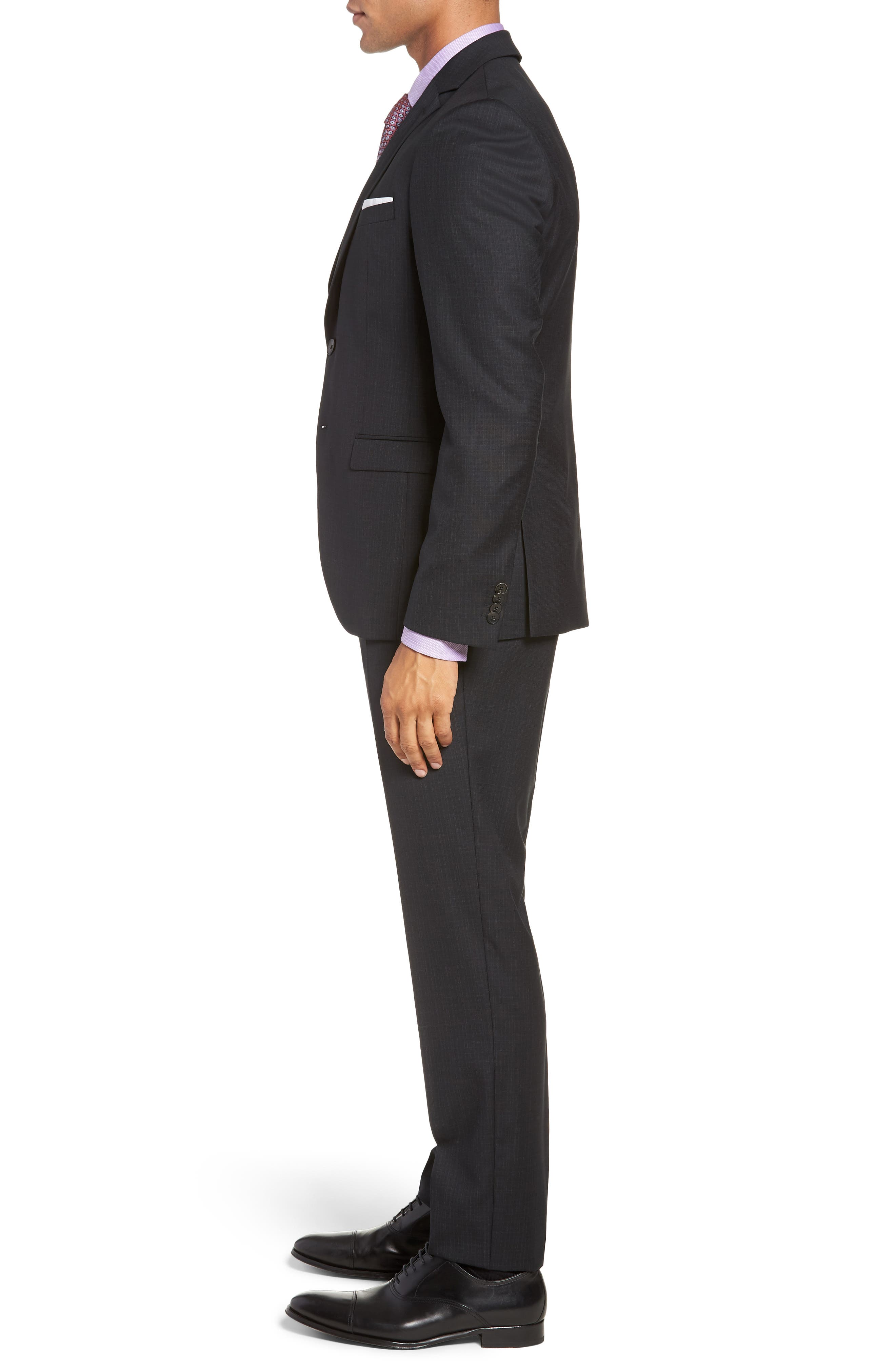 Reymond/Wenten Extra Trim Fit Check Wool Suit,                             Alternate thumbnail 3, color,                             BLACK