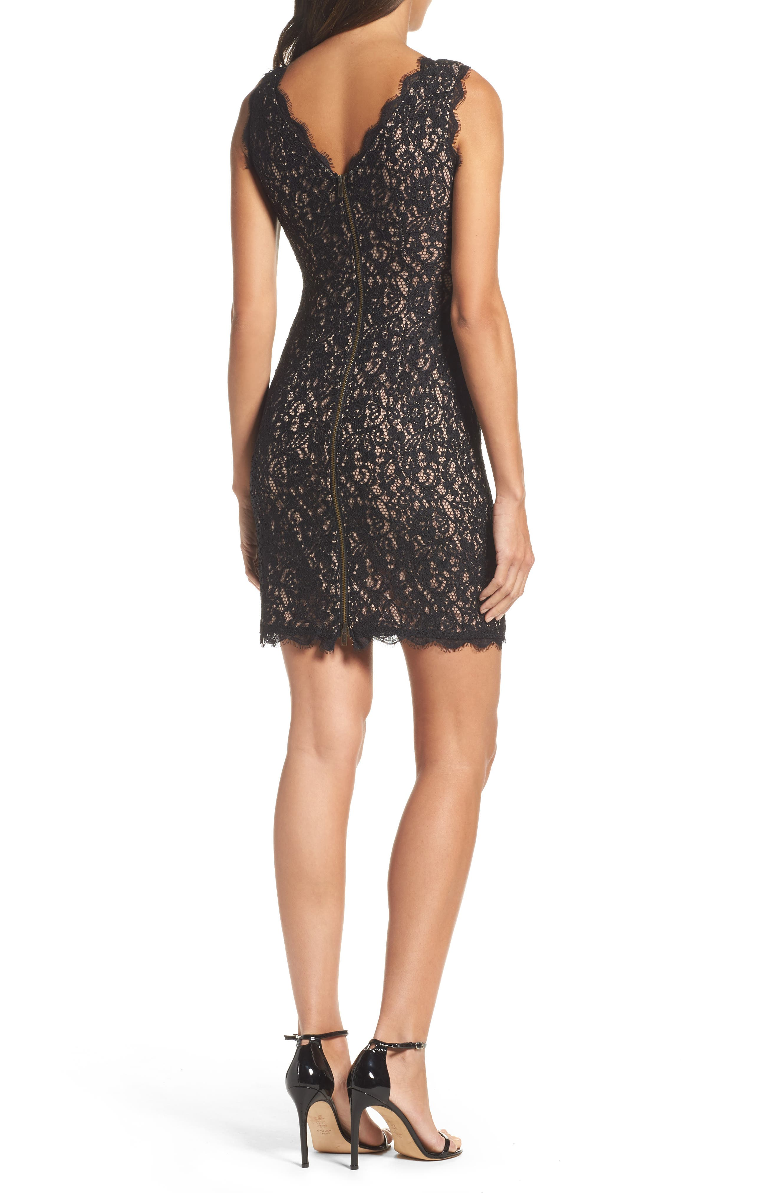 Boatneck Lace Sheath Dress,                             Alternate thumbnail 2, color,                             015